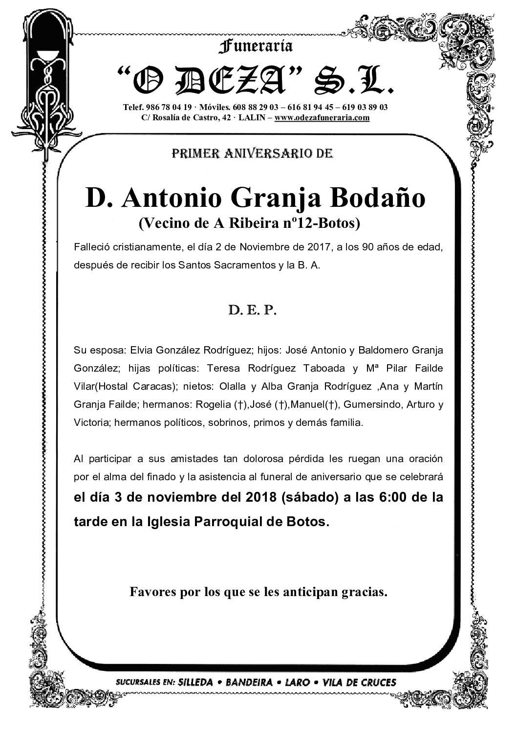 D. ANTONIO GRANJA BODAÑO