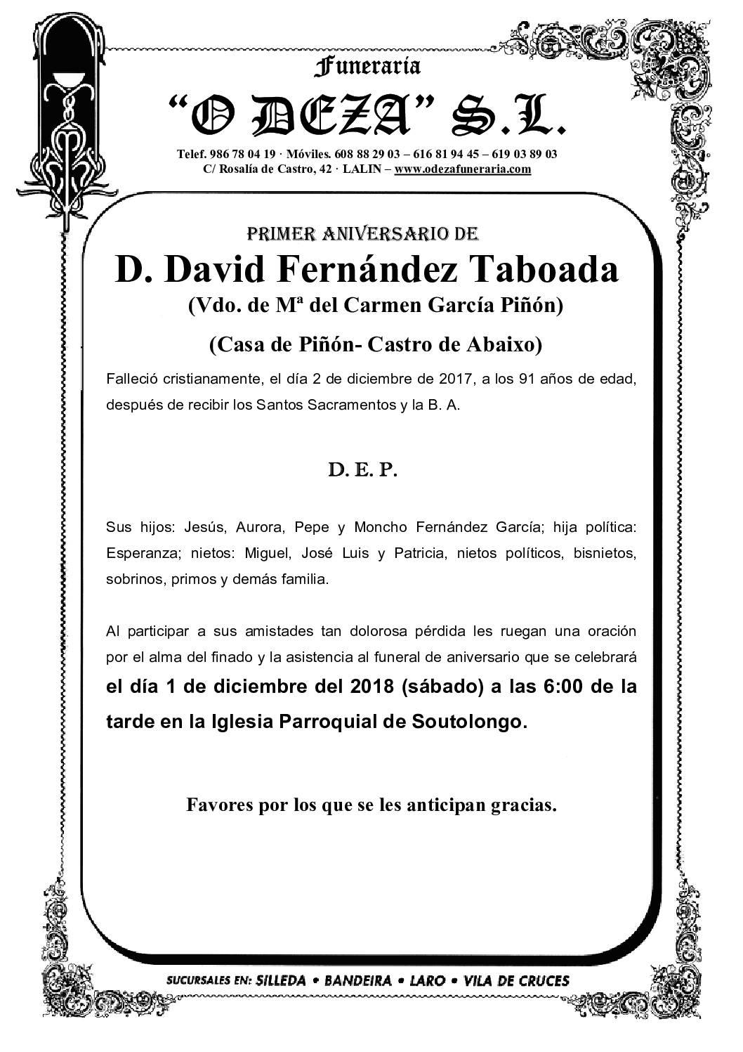 D. DAVID FERNÁNDEZ TABOADA