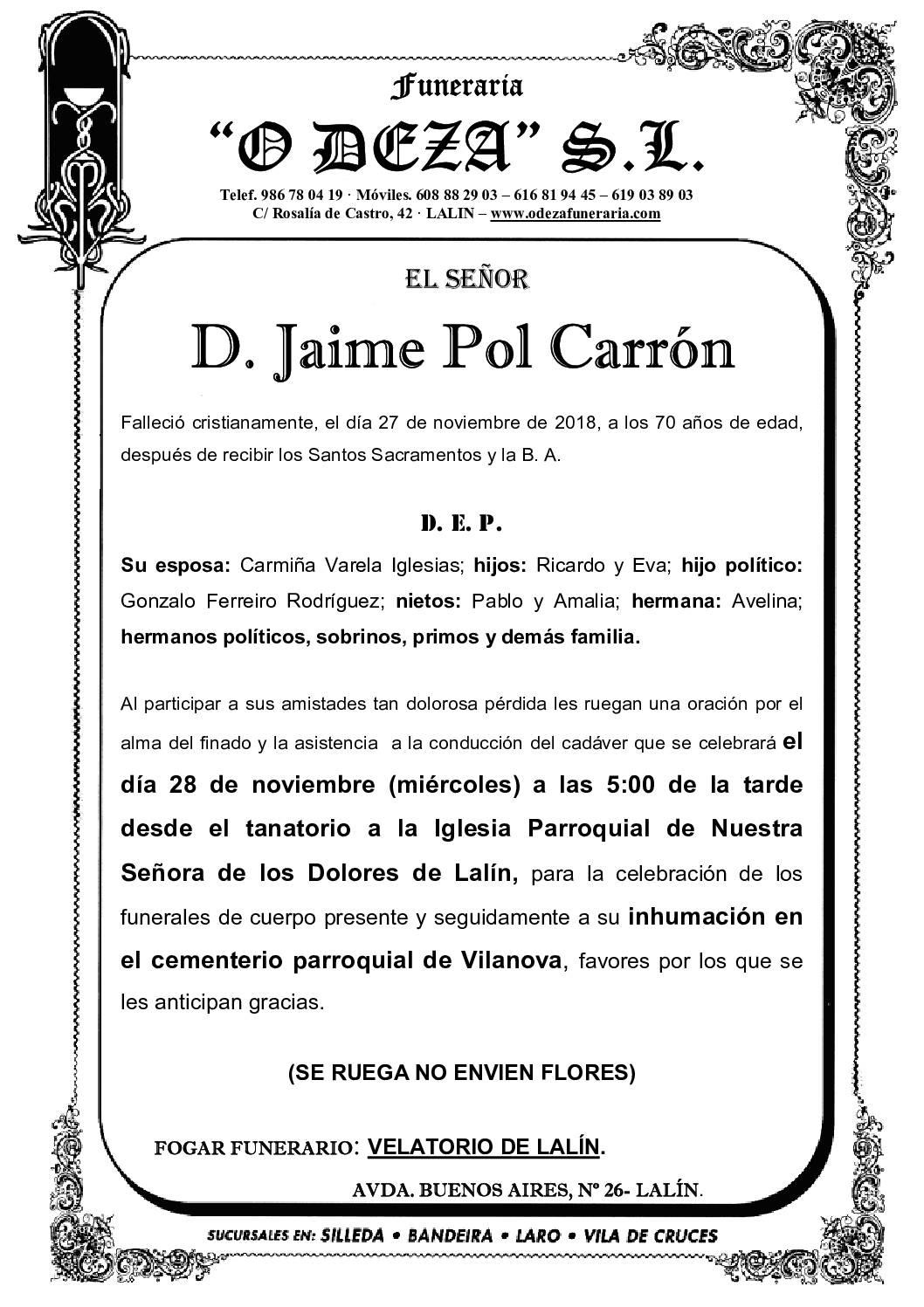 D. JAIME POL CARRÓN