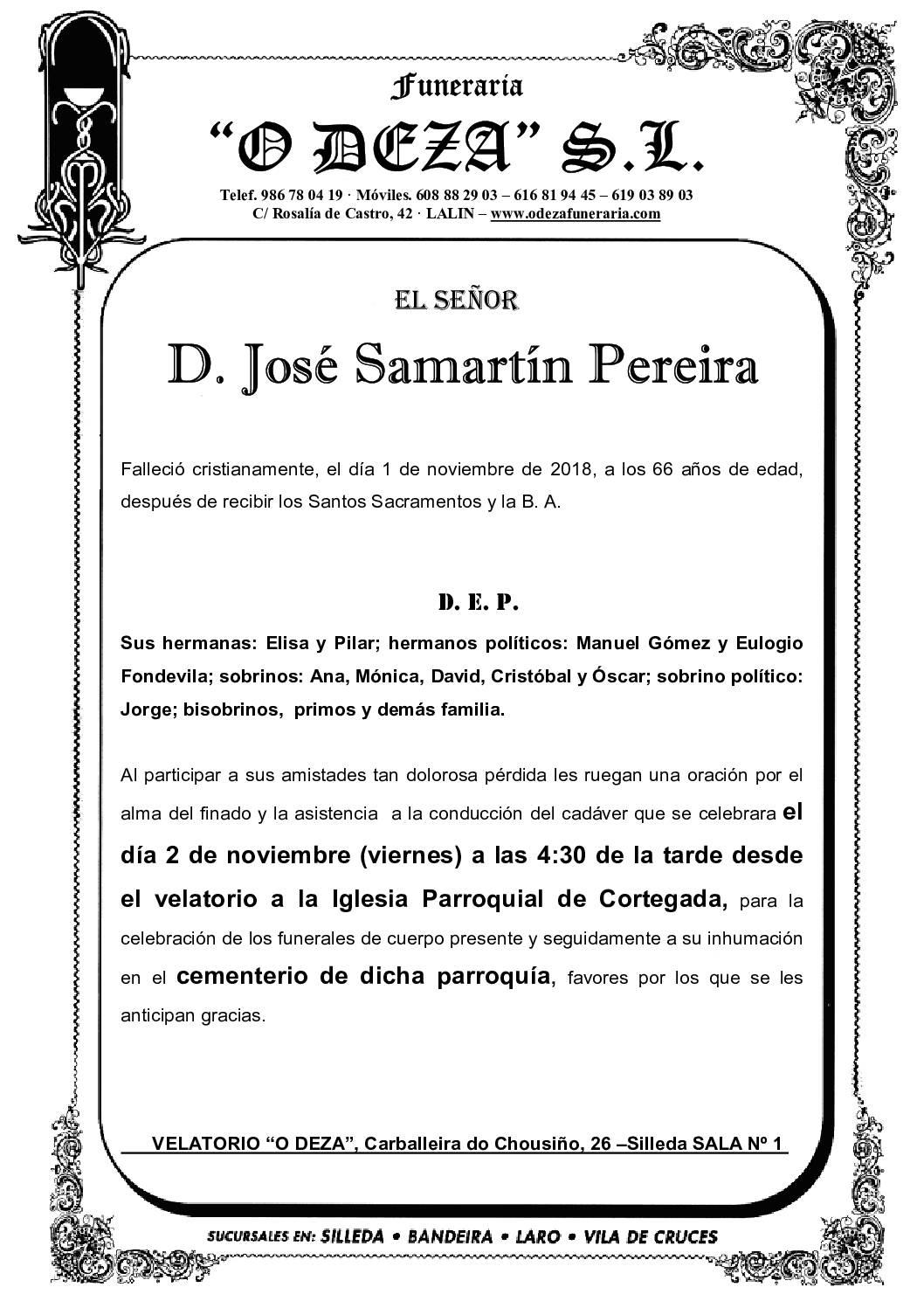D. JOSÉ SAMARTÍN PEREIRA