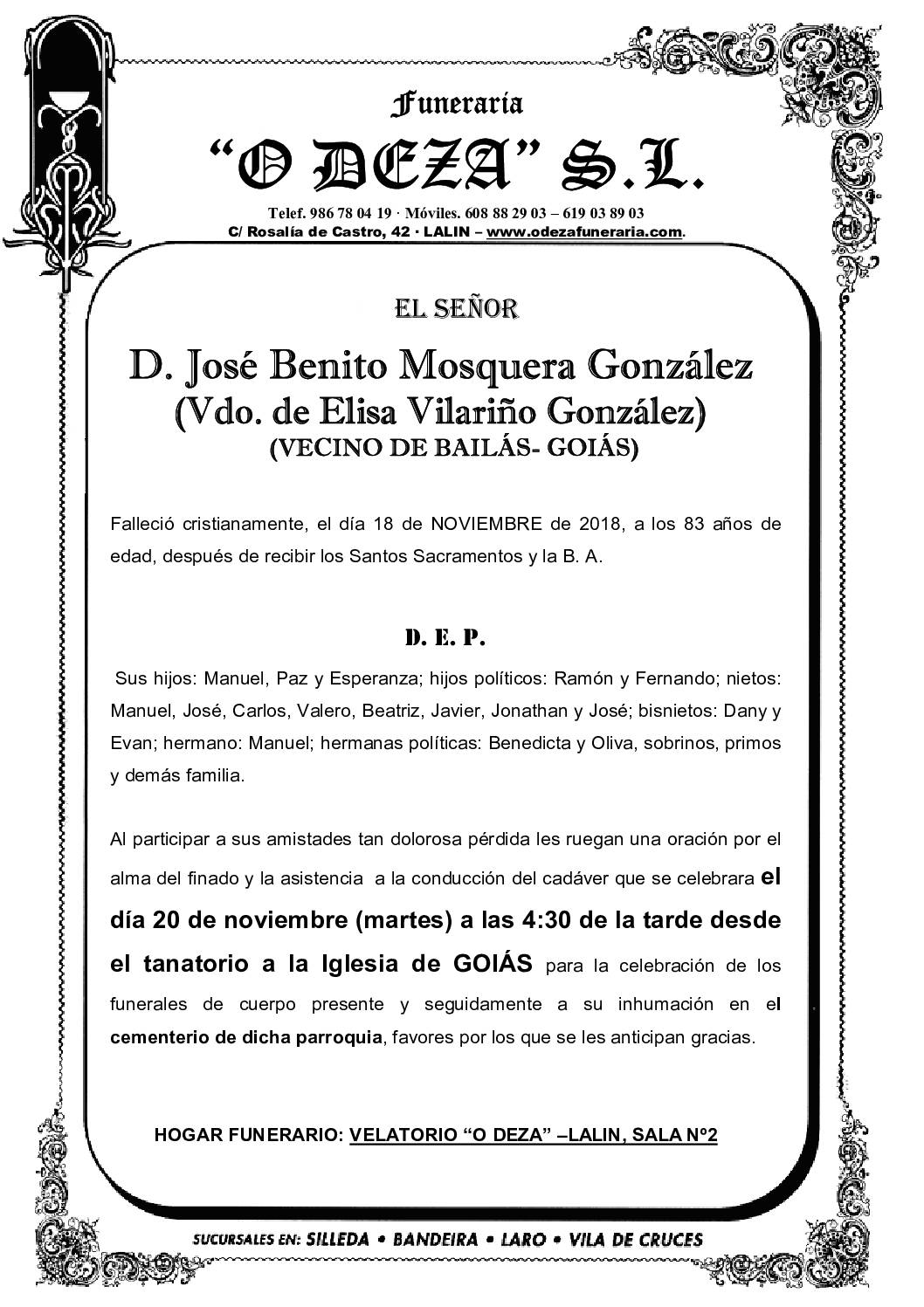 D. JOSÉ BENITO MOSQUERA GONZÁLEZ