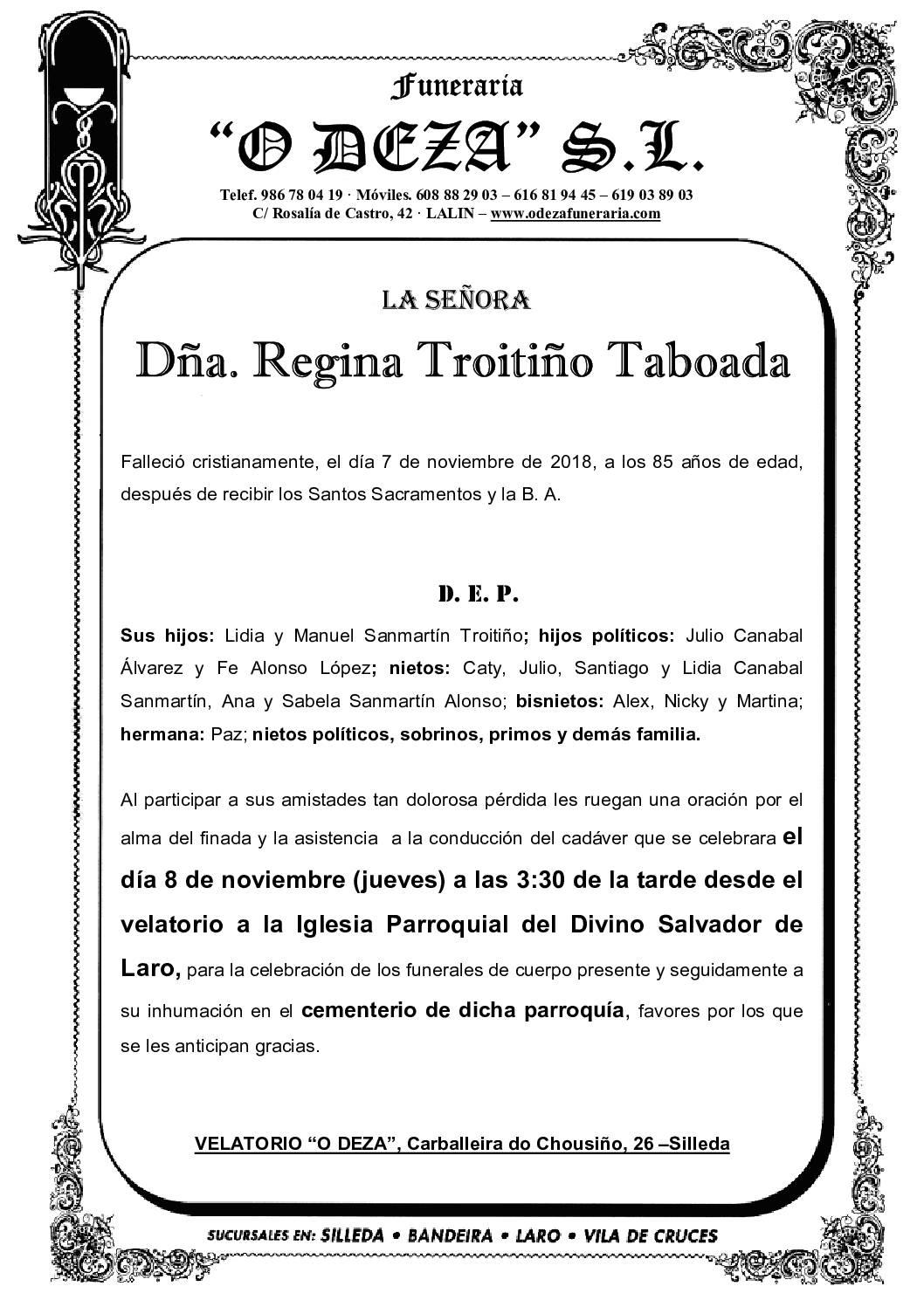 DÑA. REGINA TROITIÑO TABOADA