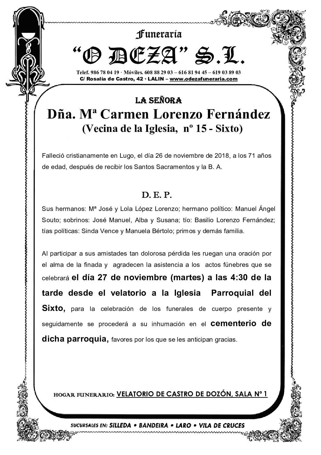 DÑA. Mª CARMEN LORENZO FERNÁNDEZ