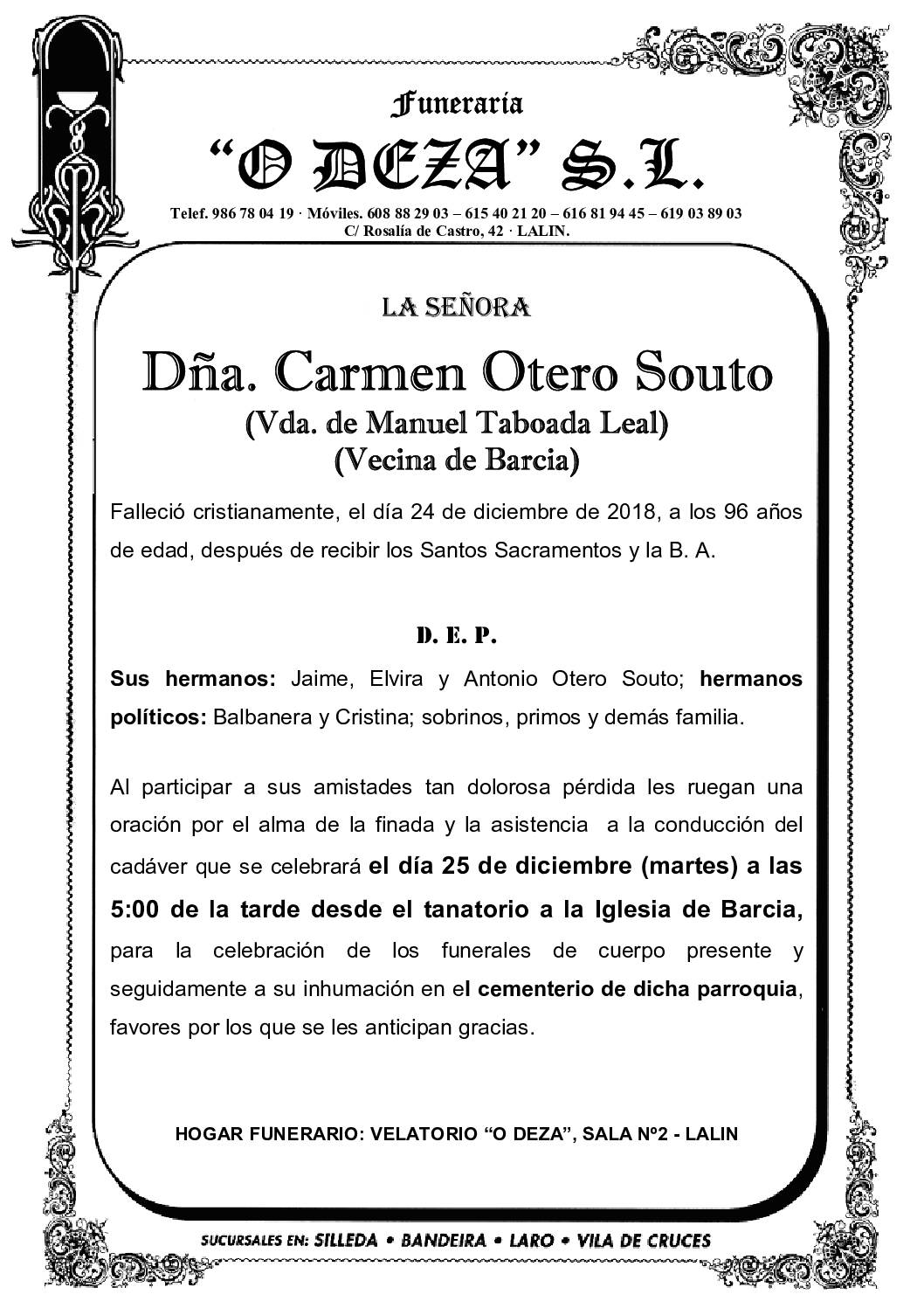 DÑA. CARMEN OTERO SOUTO