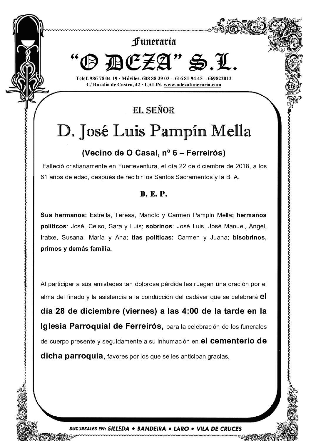 D. JOSÉ LUIS PAMPÍN MELLA