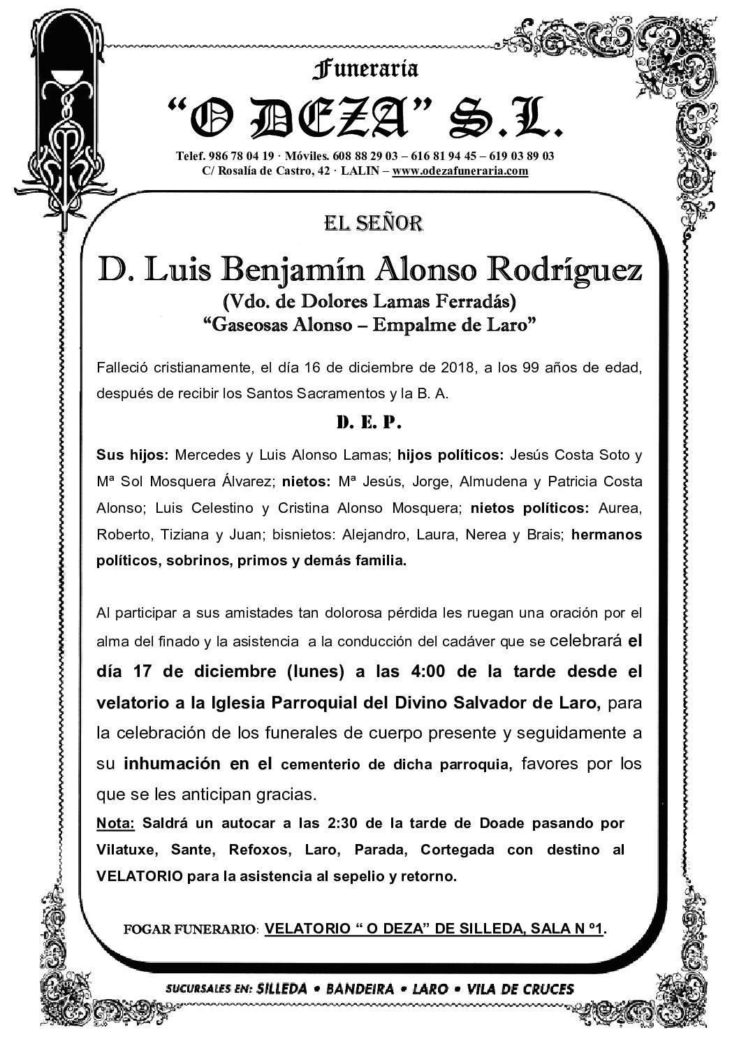 D. LUIS BENJAMÍN ALONSO RODRÍGUEZ