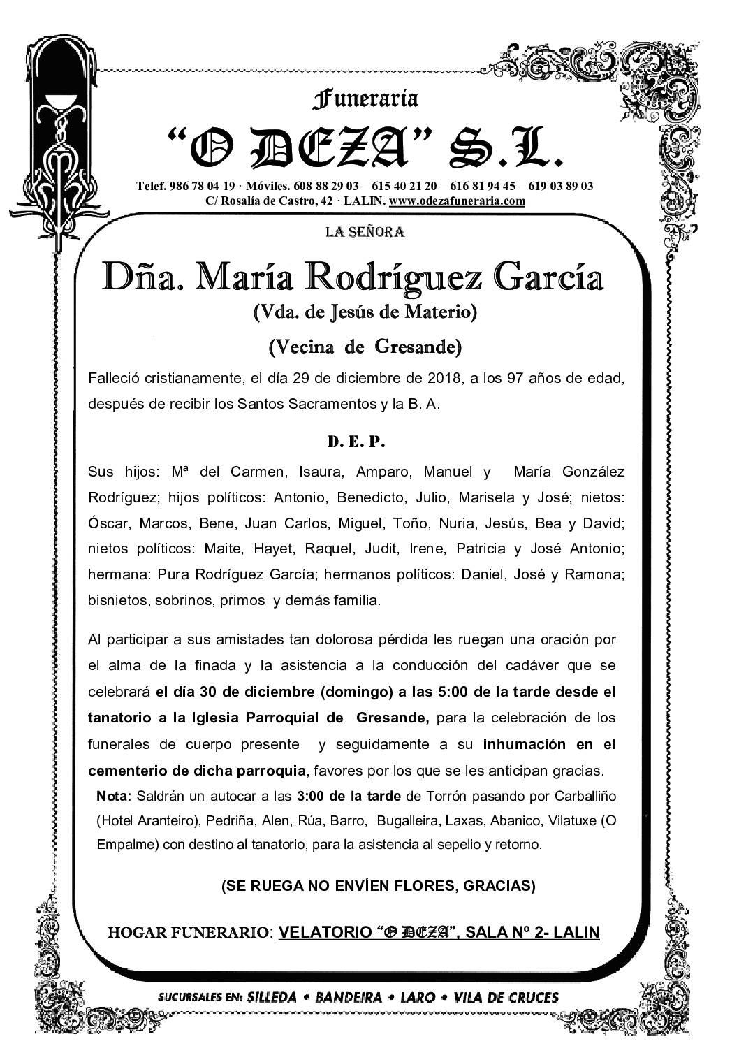 DÑA. MARÍA RODRÍGUEZ GARCÍA