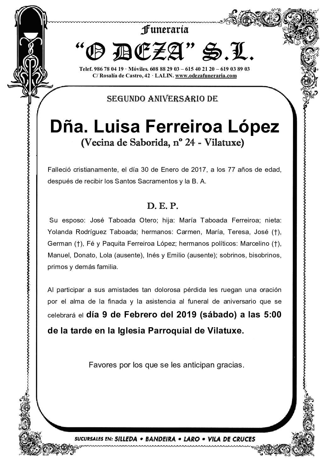 DÑA. LUISA FERREIROA LÓPEZ