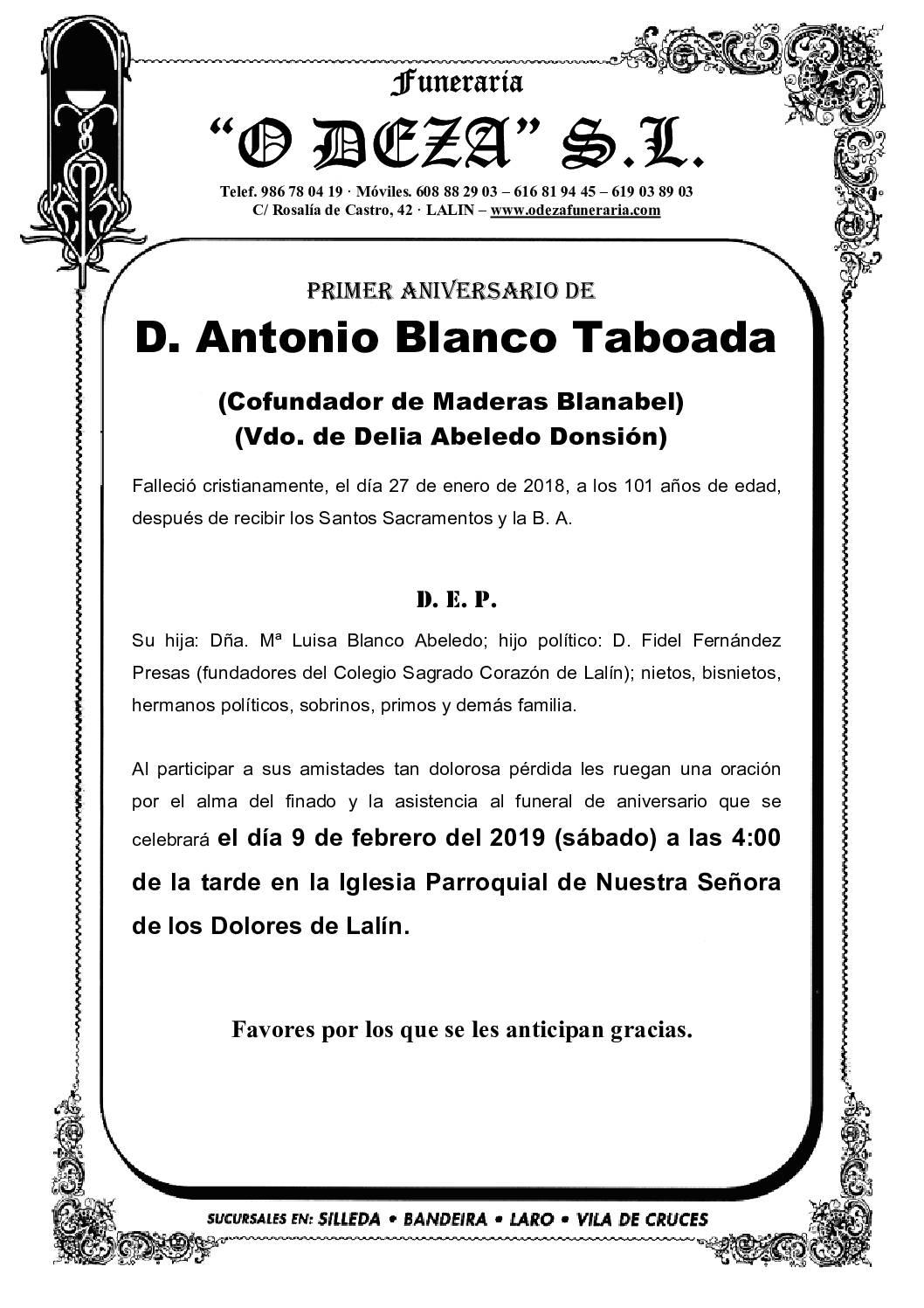 D. ANTONIO BLANCO TABOADA