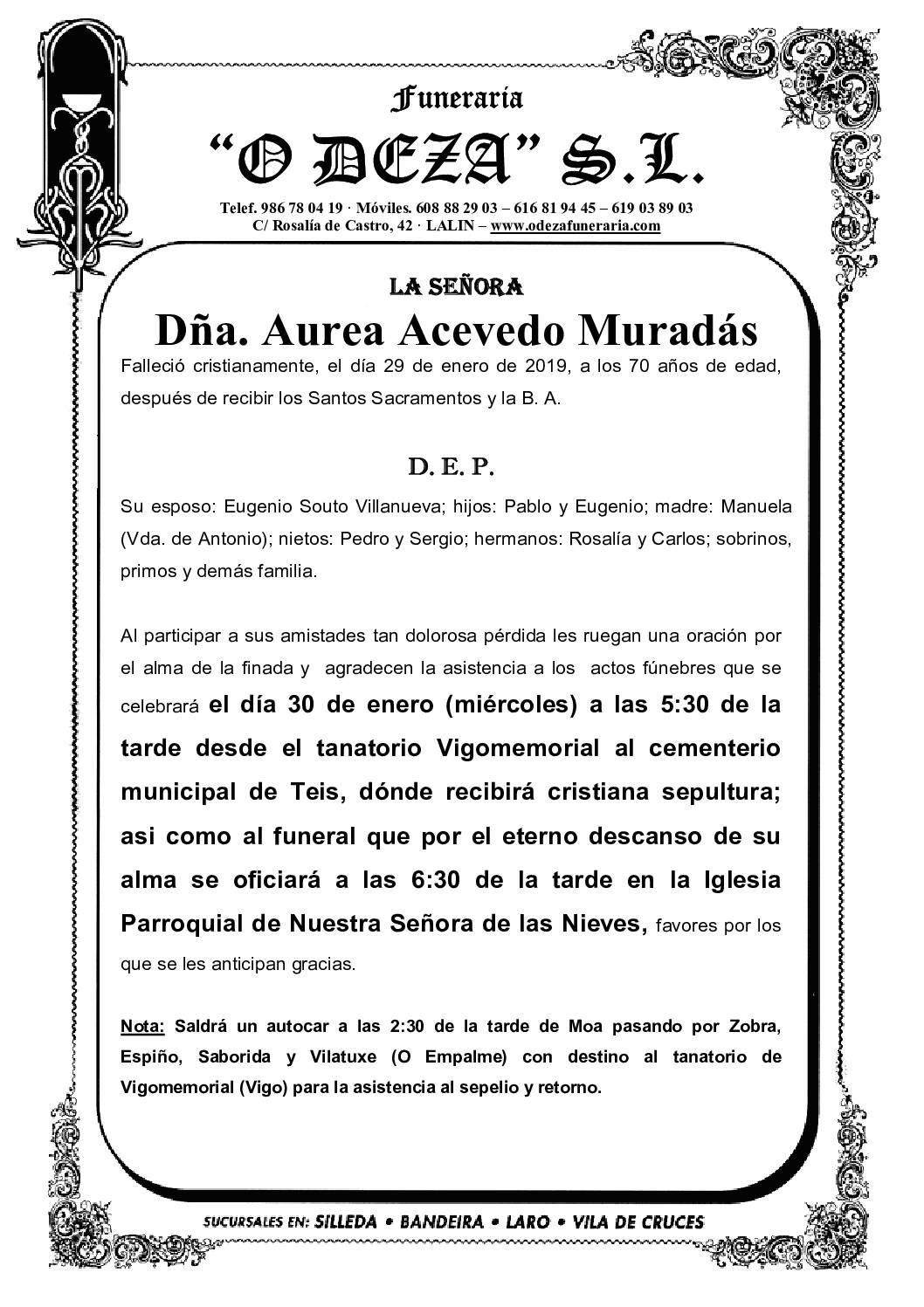 DÑA. AUREA ACEVEDO MURADÁS
