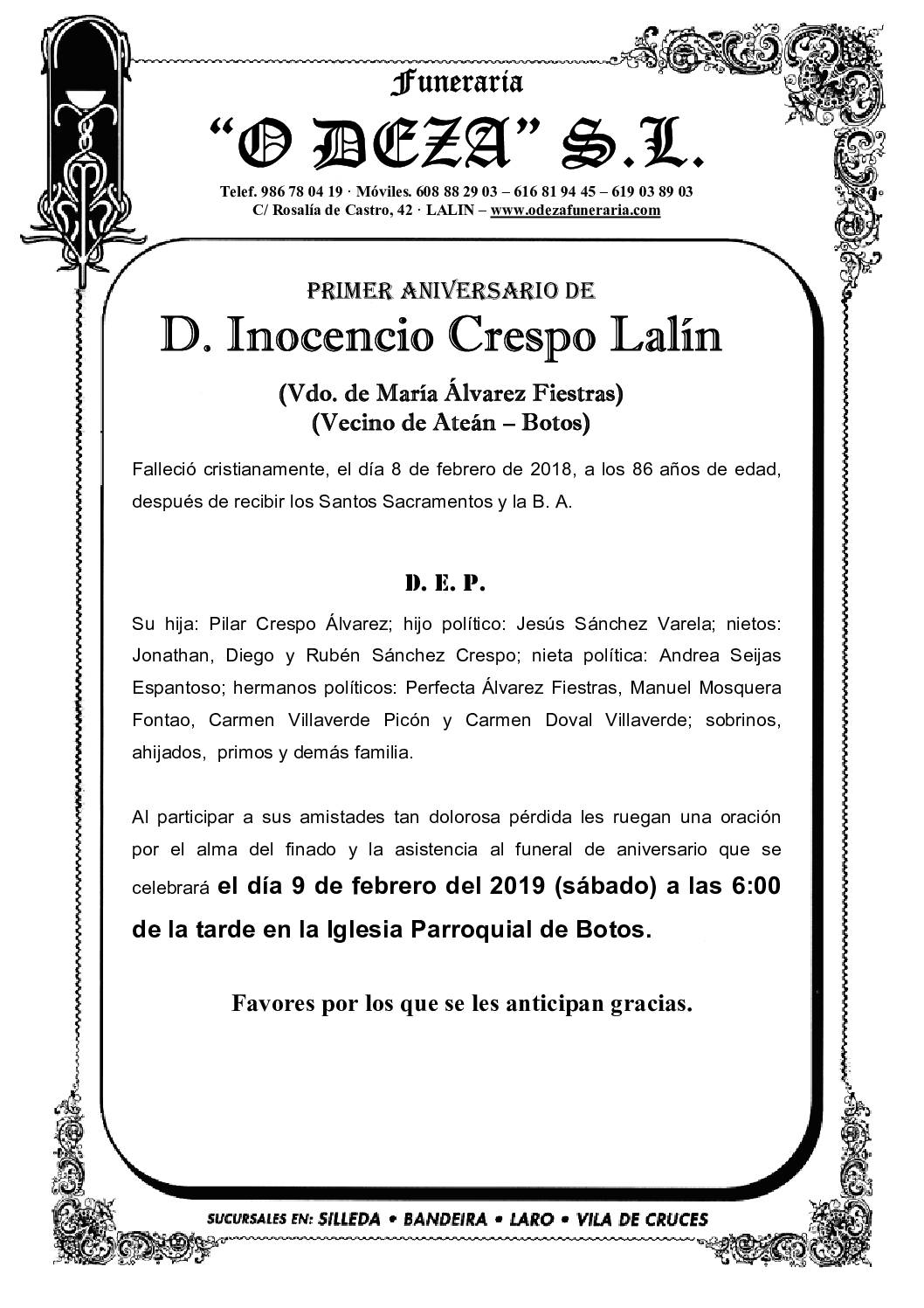 D. INOCENCIO CRESPO LALIN