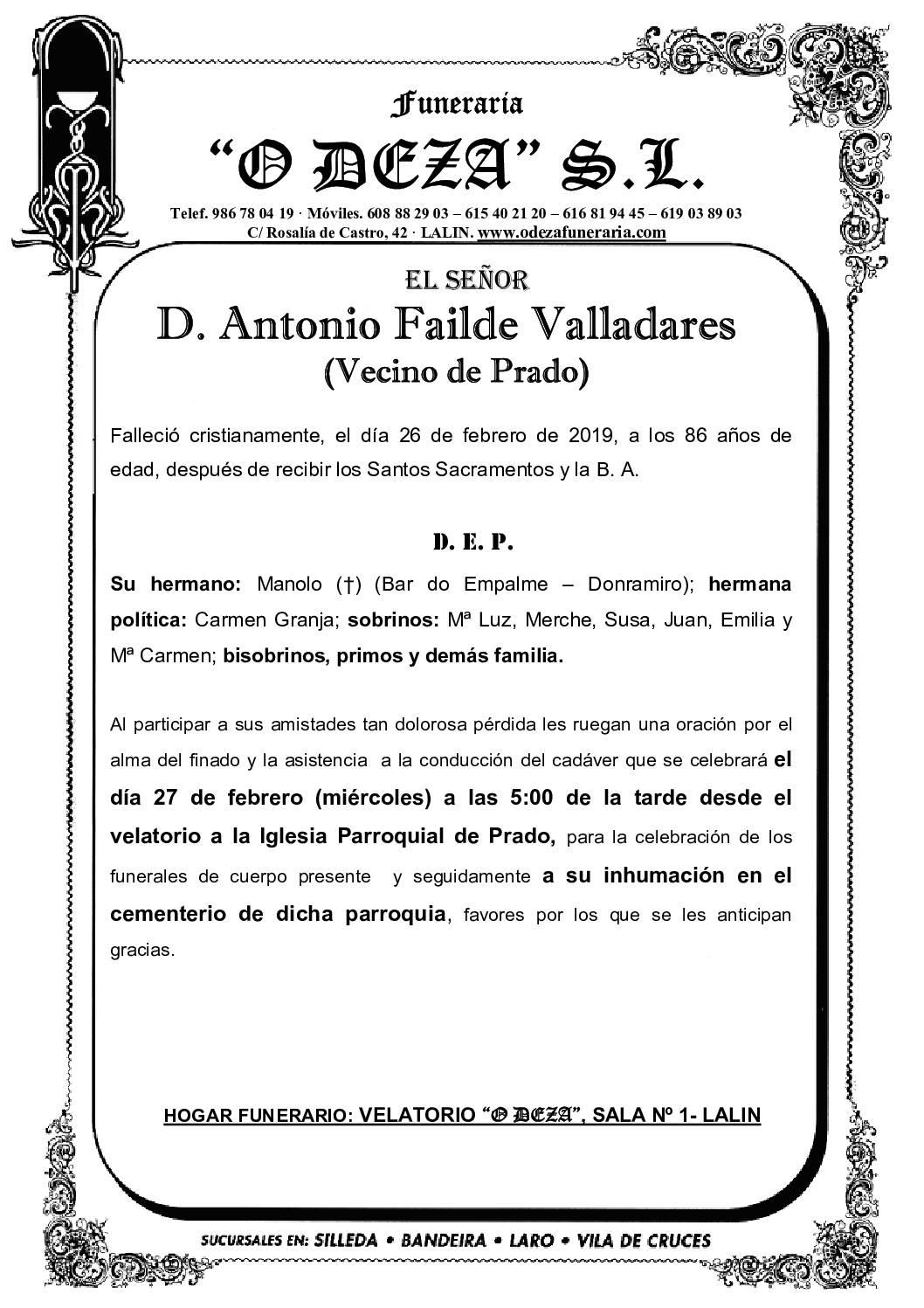 D. ANTONIO FAILDE VALLADARES