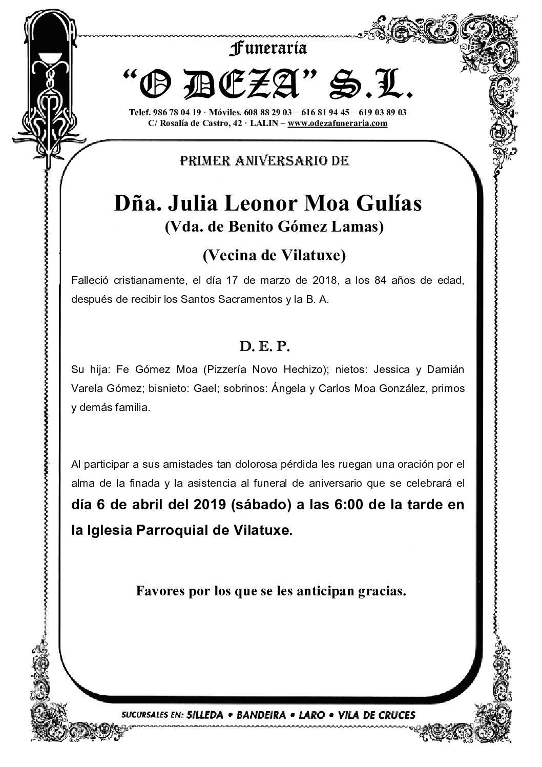 DÑA. JULIA LEONOR MOA GULÍAS