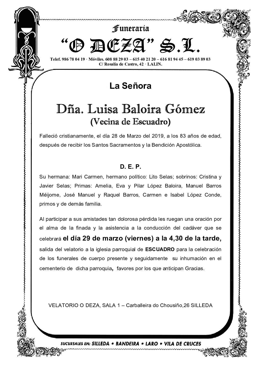 DÑA LUISA BALOIRA GÓMEZ