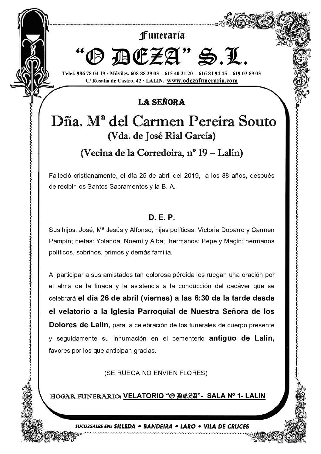 Mª DEL CARMEN PEREIRA SOUTO