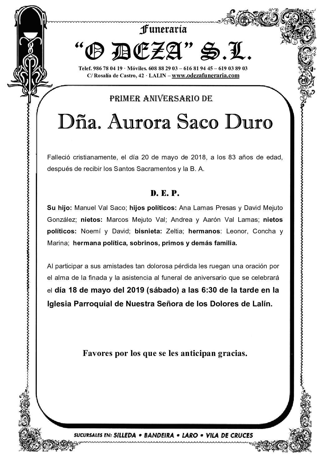 DÑA. AURORA SACO DURO