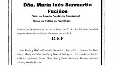 DÑA. Mª INÉS SANMARTÍN FUCIÑOS