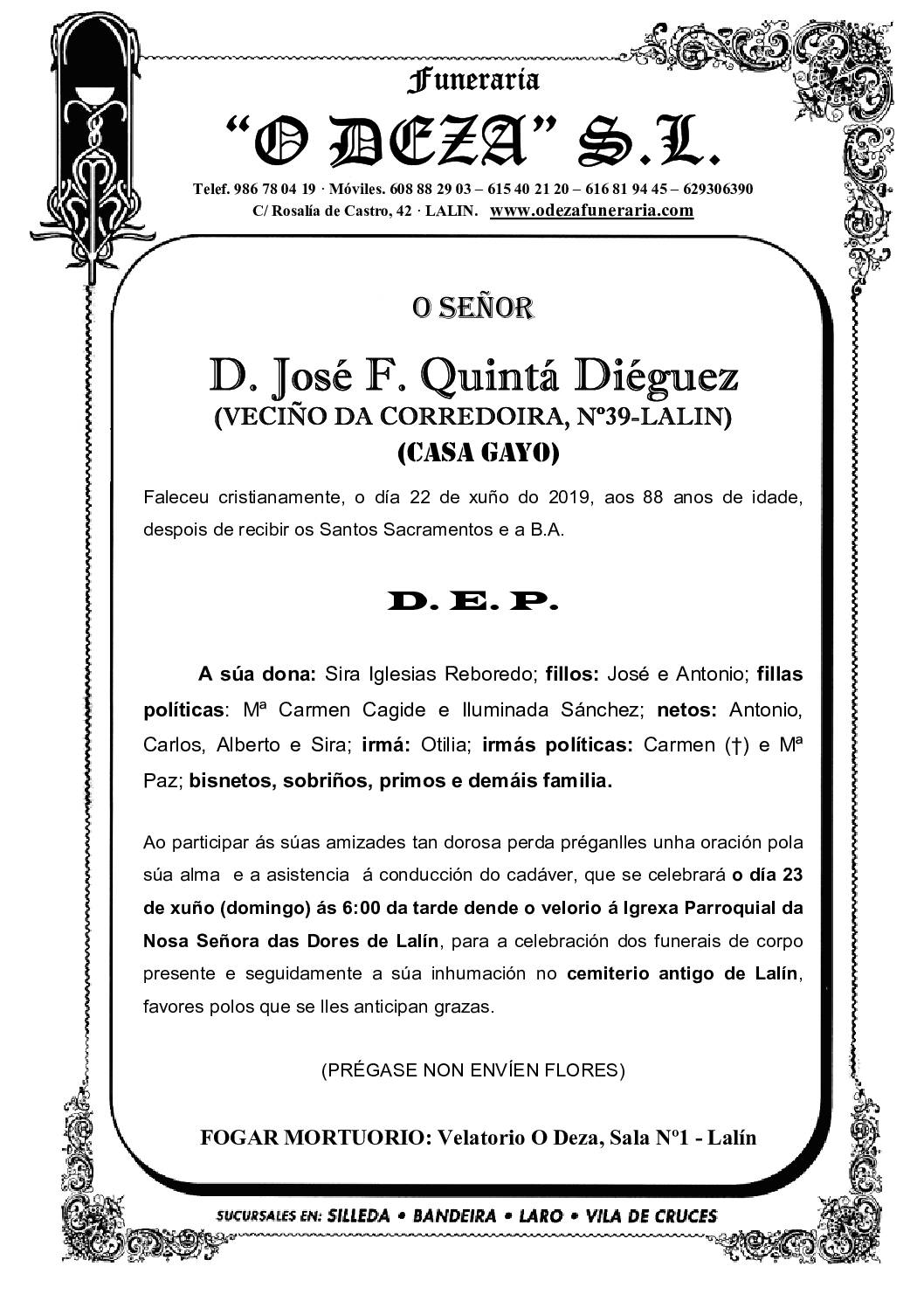 D. JOSÉ F. QUINTÁ DIÉGUEZ