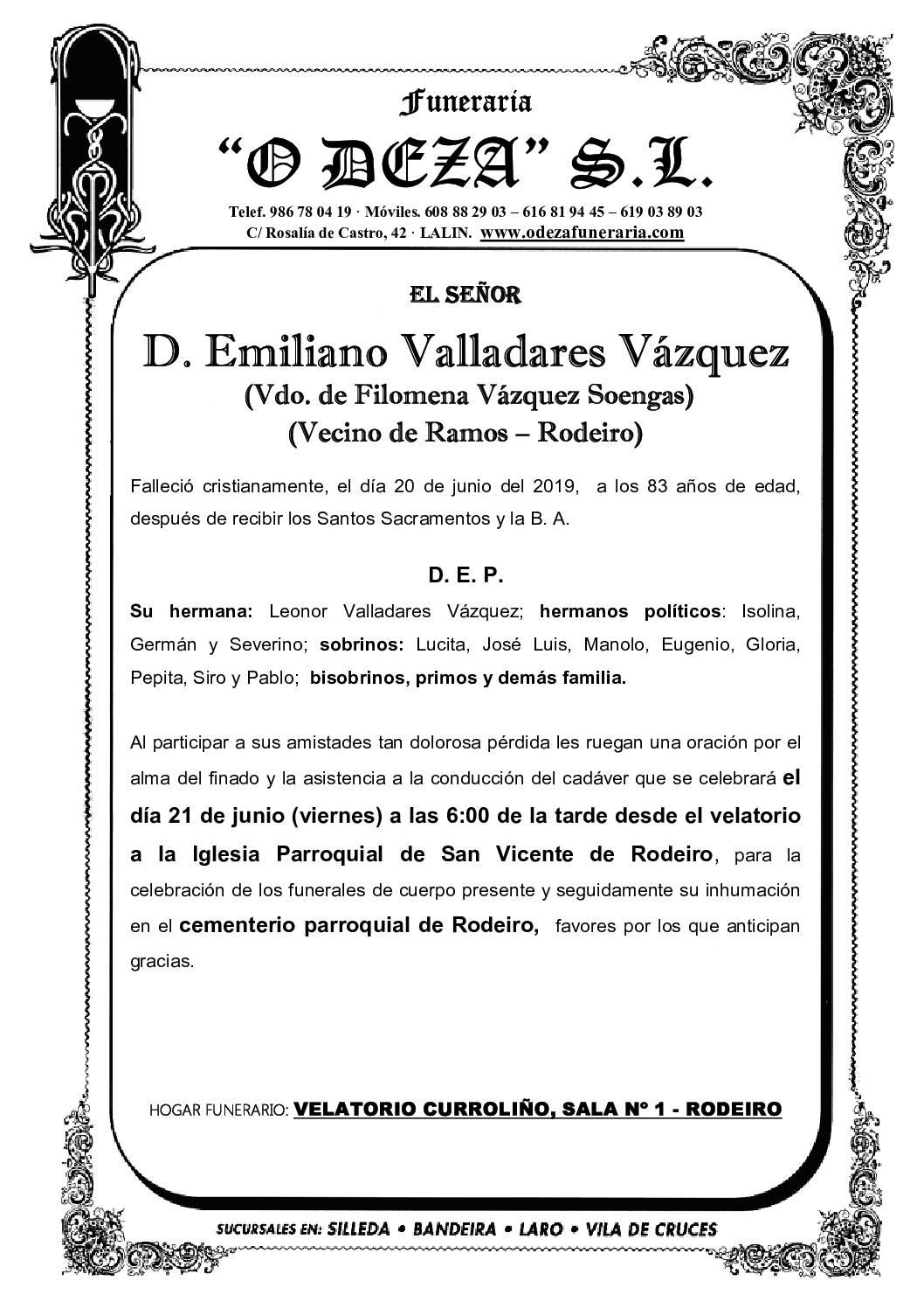 D. EMILIANO VALLADARES VÁZQUEZ