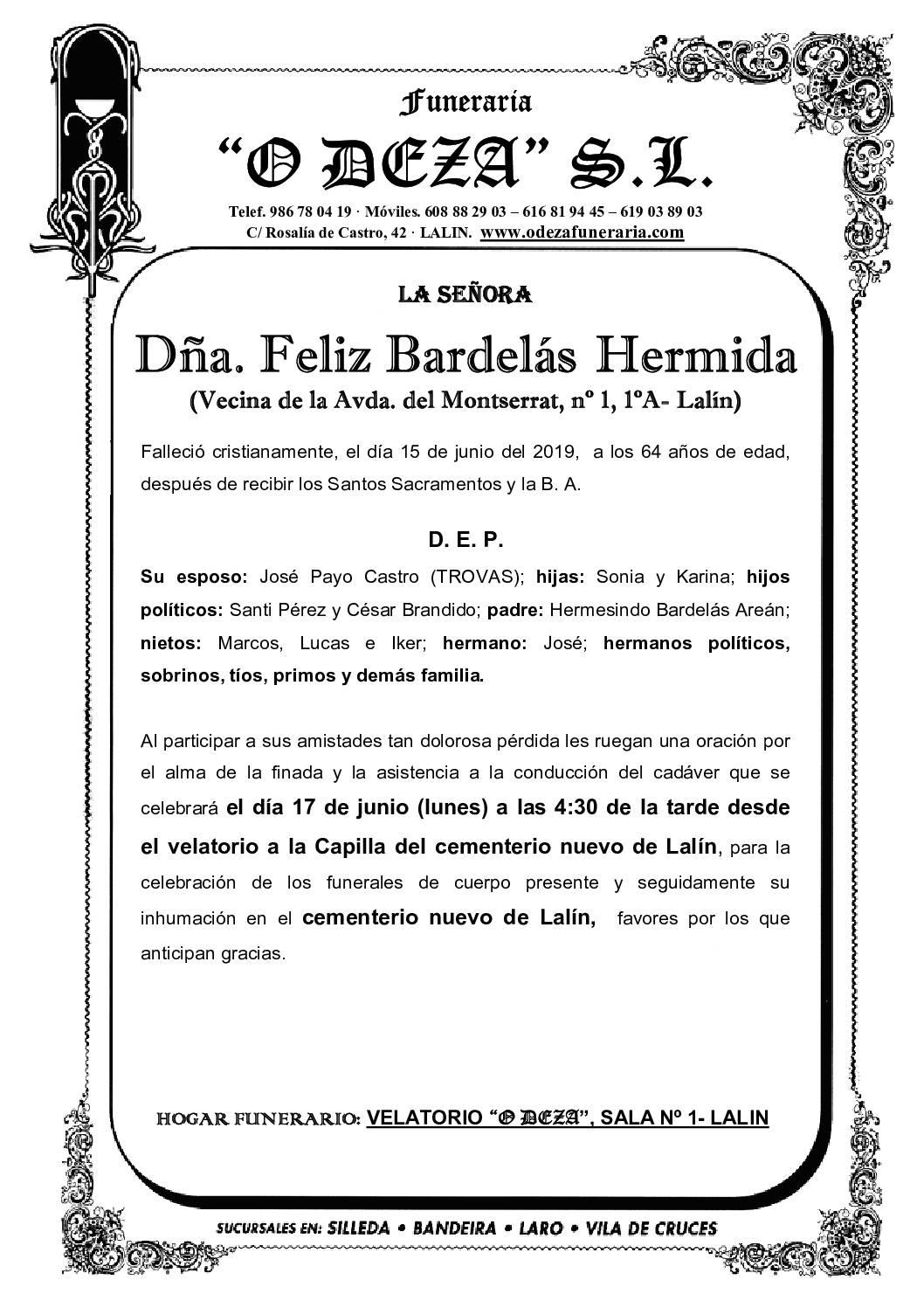 DÑA. FELIZ BARDELÁS HERMIDA