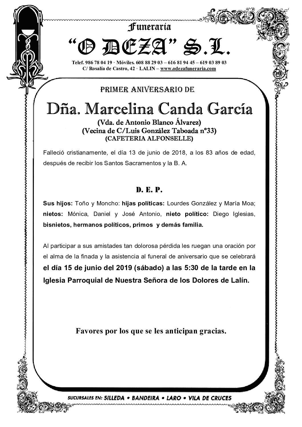 DÑA. MARCELINA CANDA GARCÍA