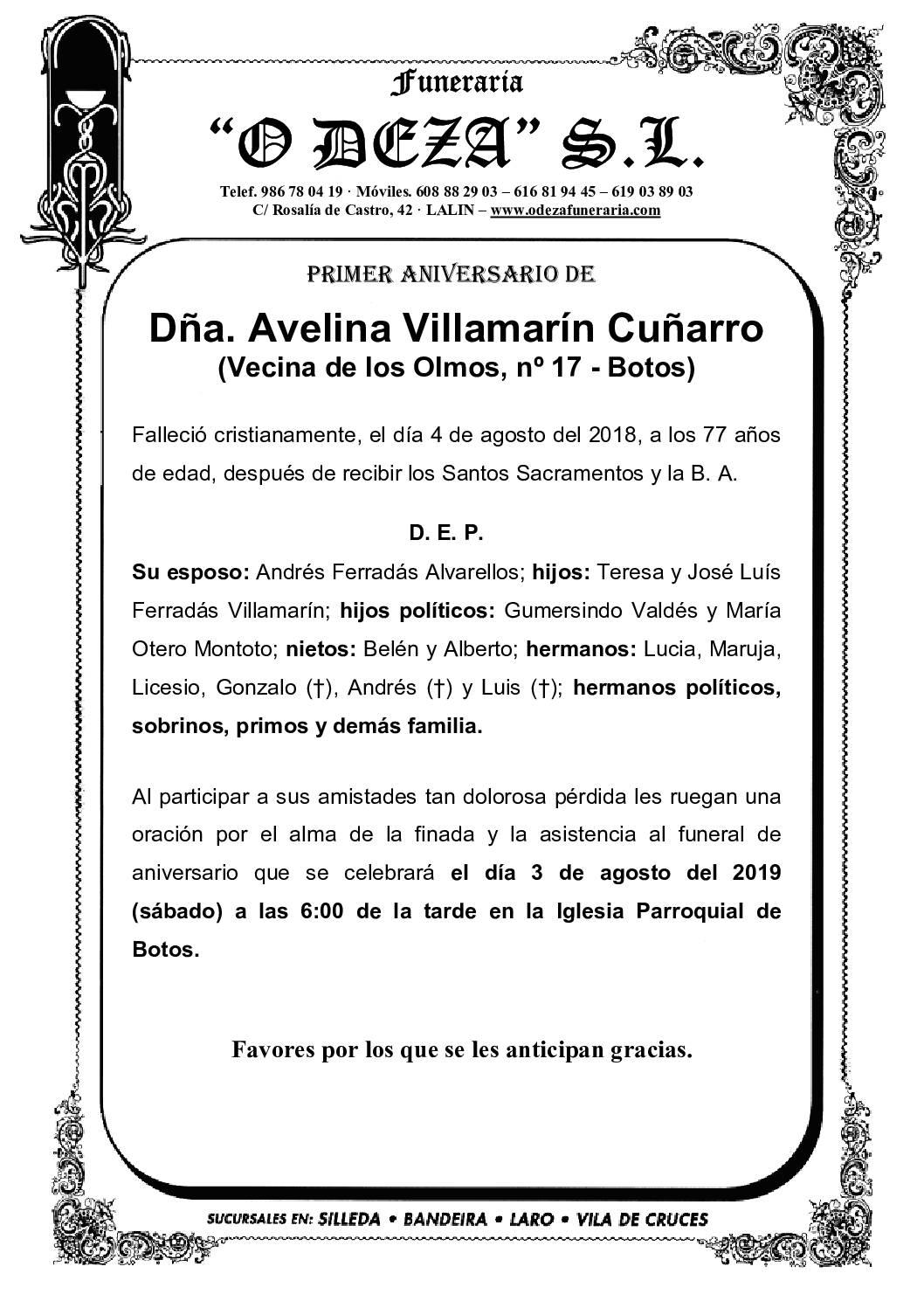 DÑA. AVELINA VILLAMARÍN CUÑARRO