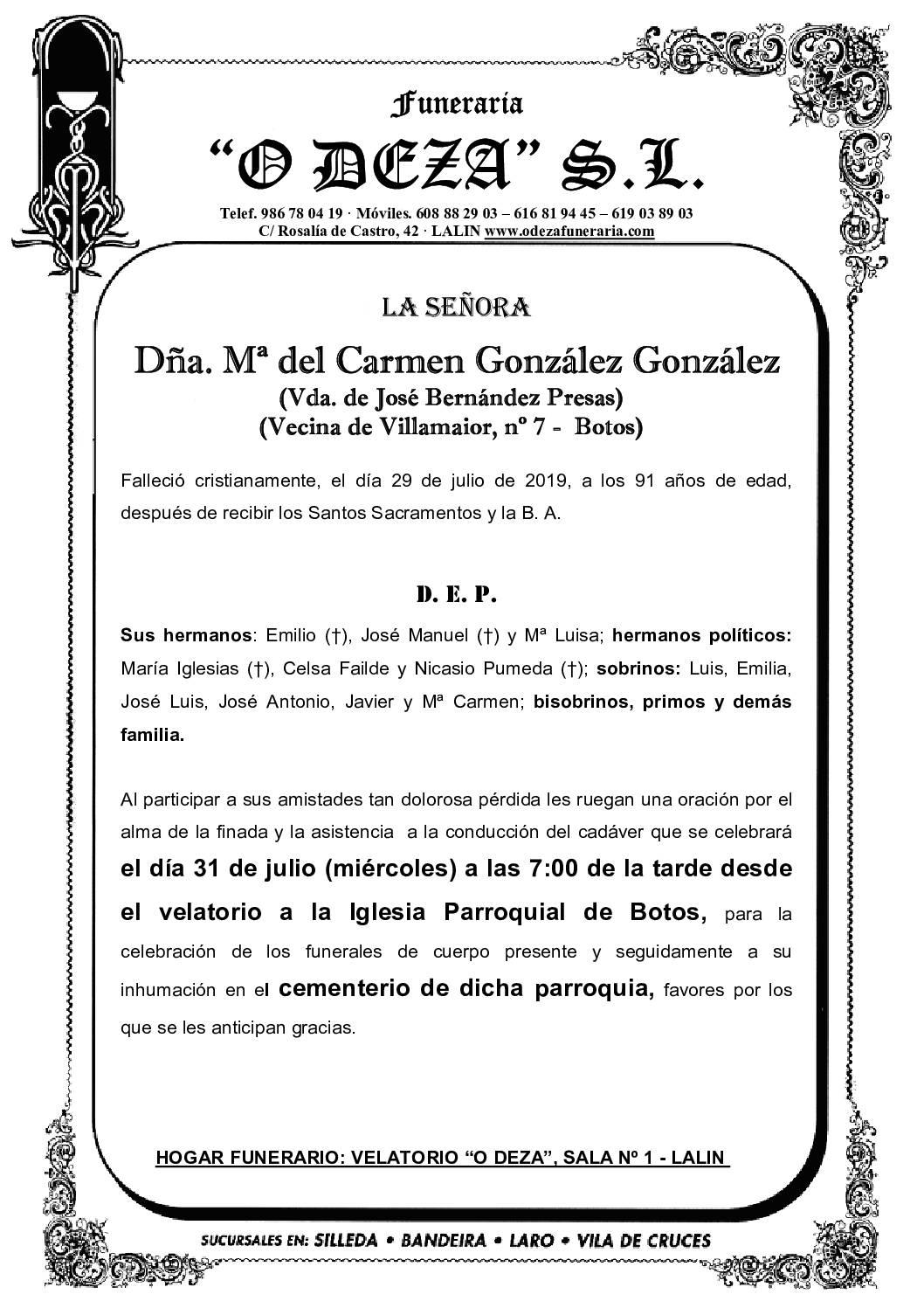 DÑA. Mª DEL CARMEN GONZÁLEZ GONZÁLEZ