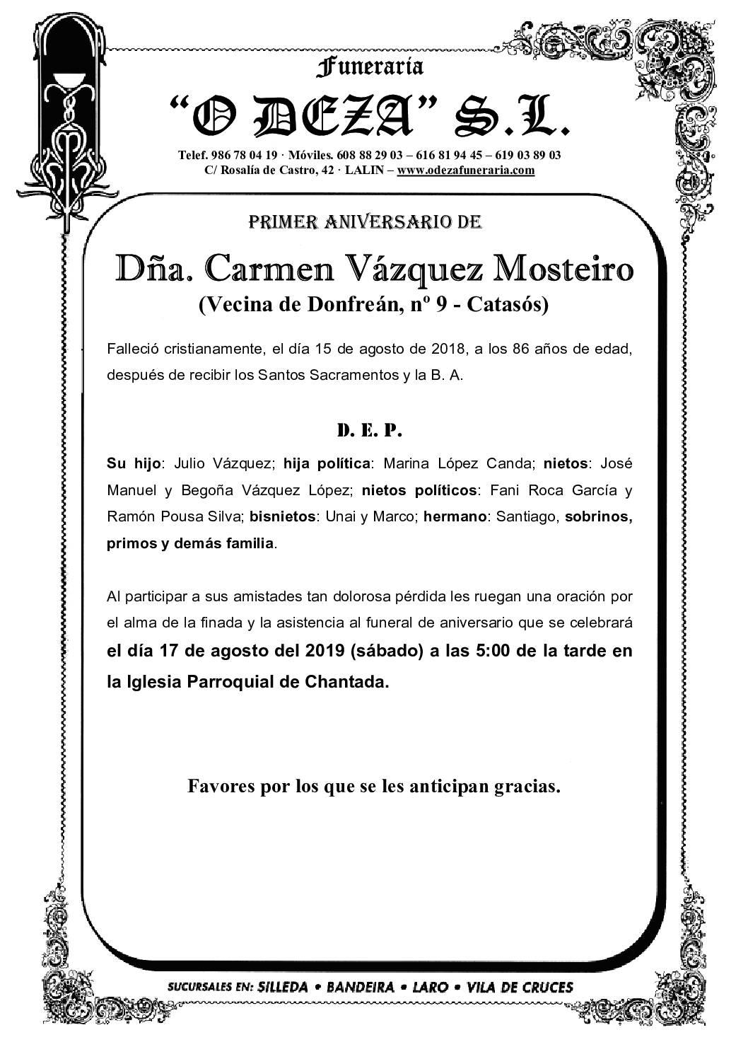 DÑA. Mª CARMEN VÁZQUEZ MOSTEIRO
