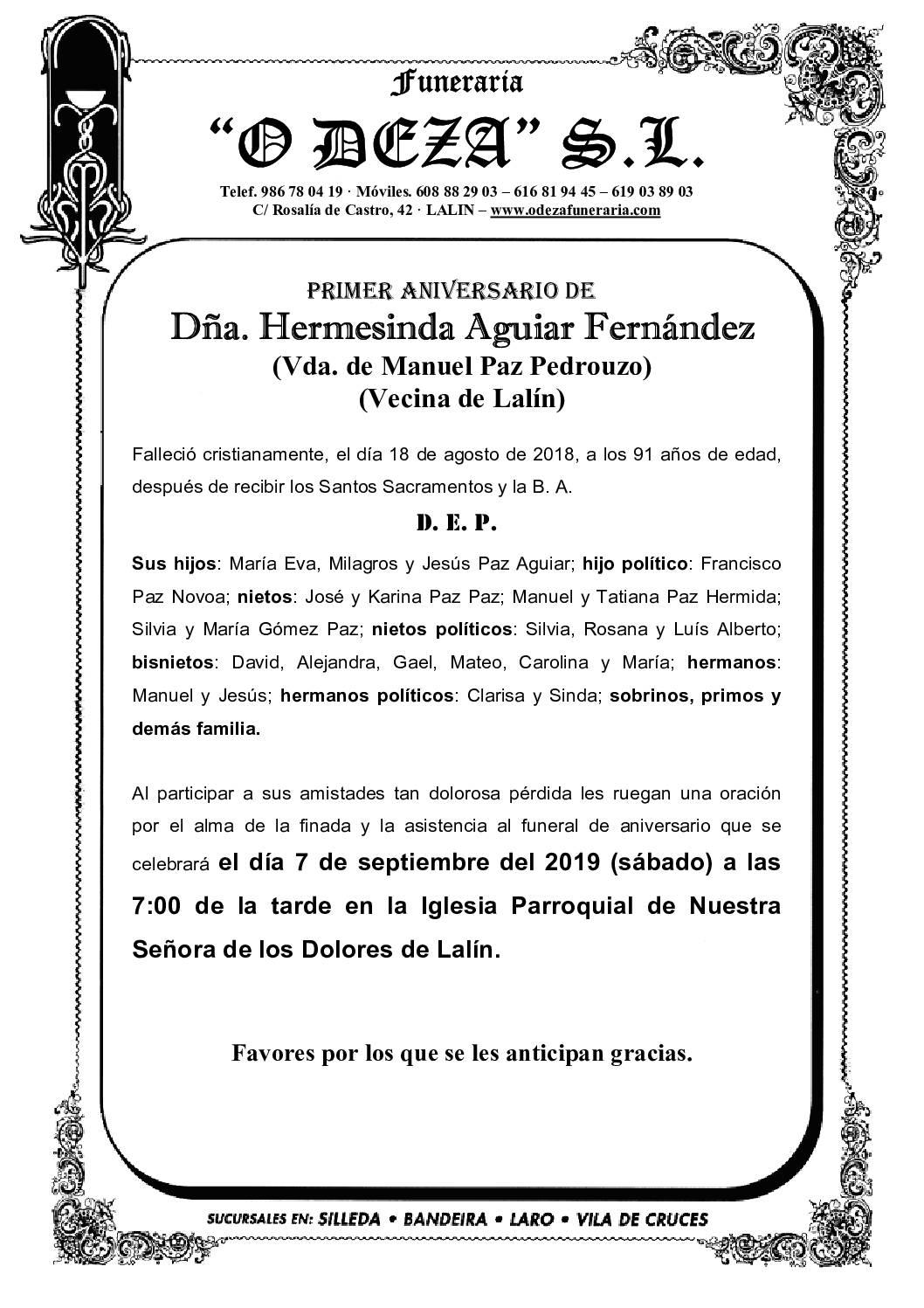 DÑA. HERMESINDA AGUIAR FERNÁNDEZ
