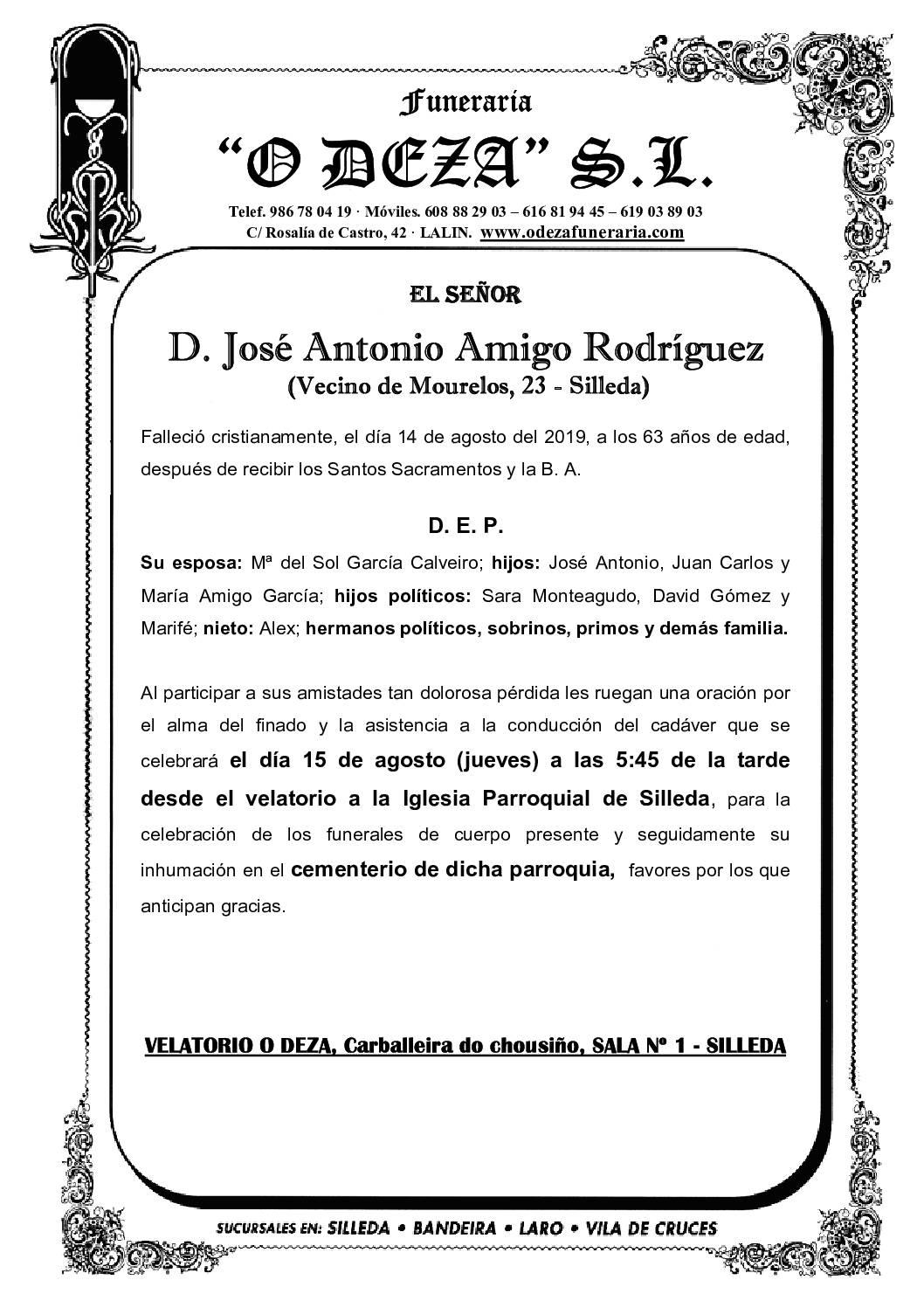 D. JOSÉ ANTONIO AMIGO RODRÍGUEZ