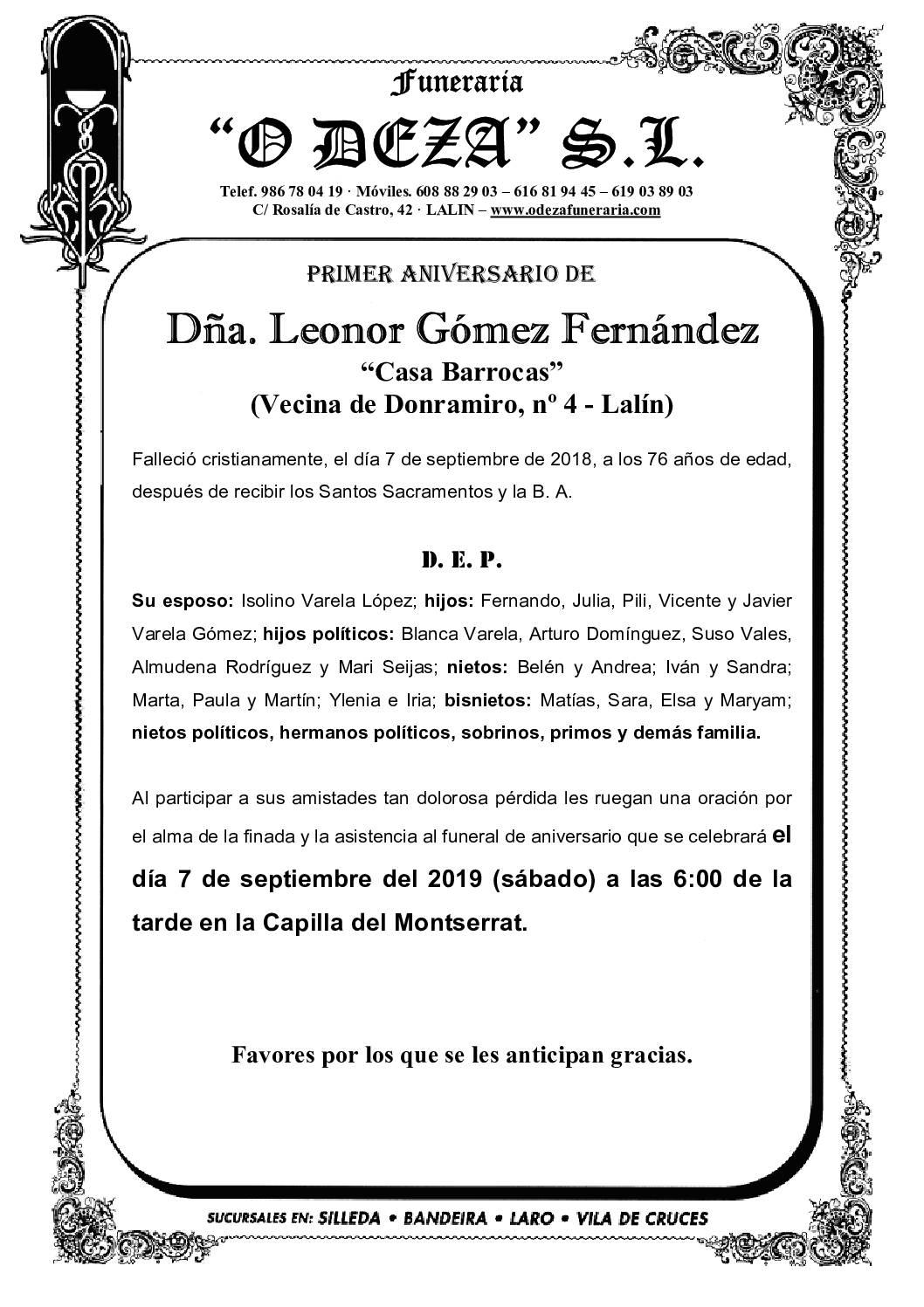 DÑA. LEONOR GÓMEZ FERNÁNDEZ