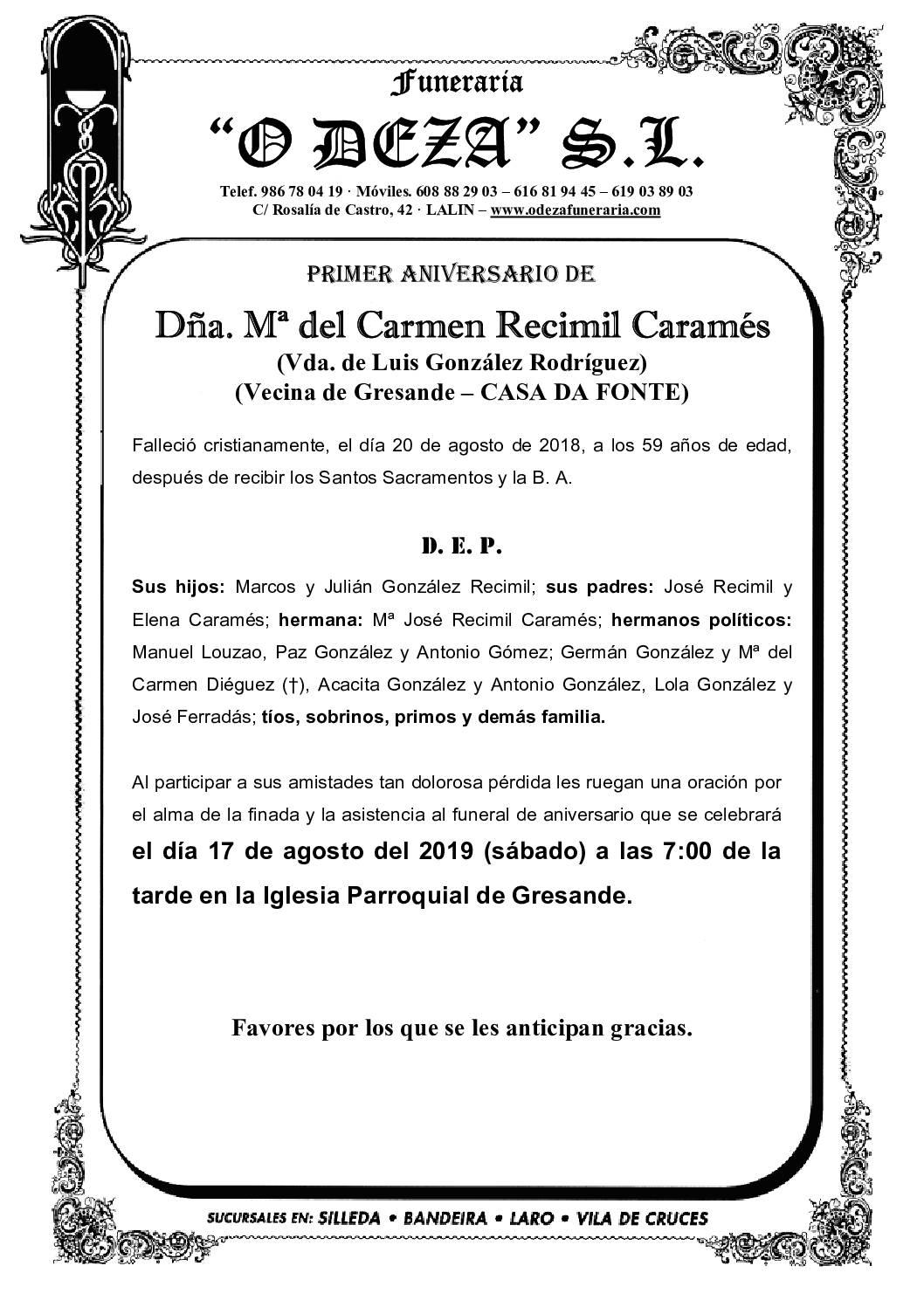 DÑA. Mª DEL CARMEN RECIMIL CARAMÉS