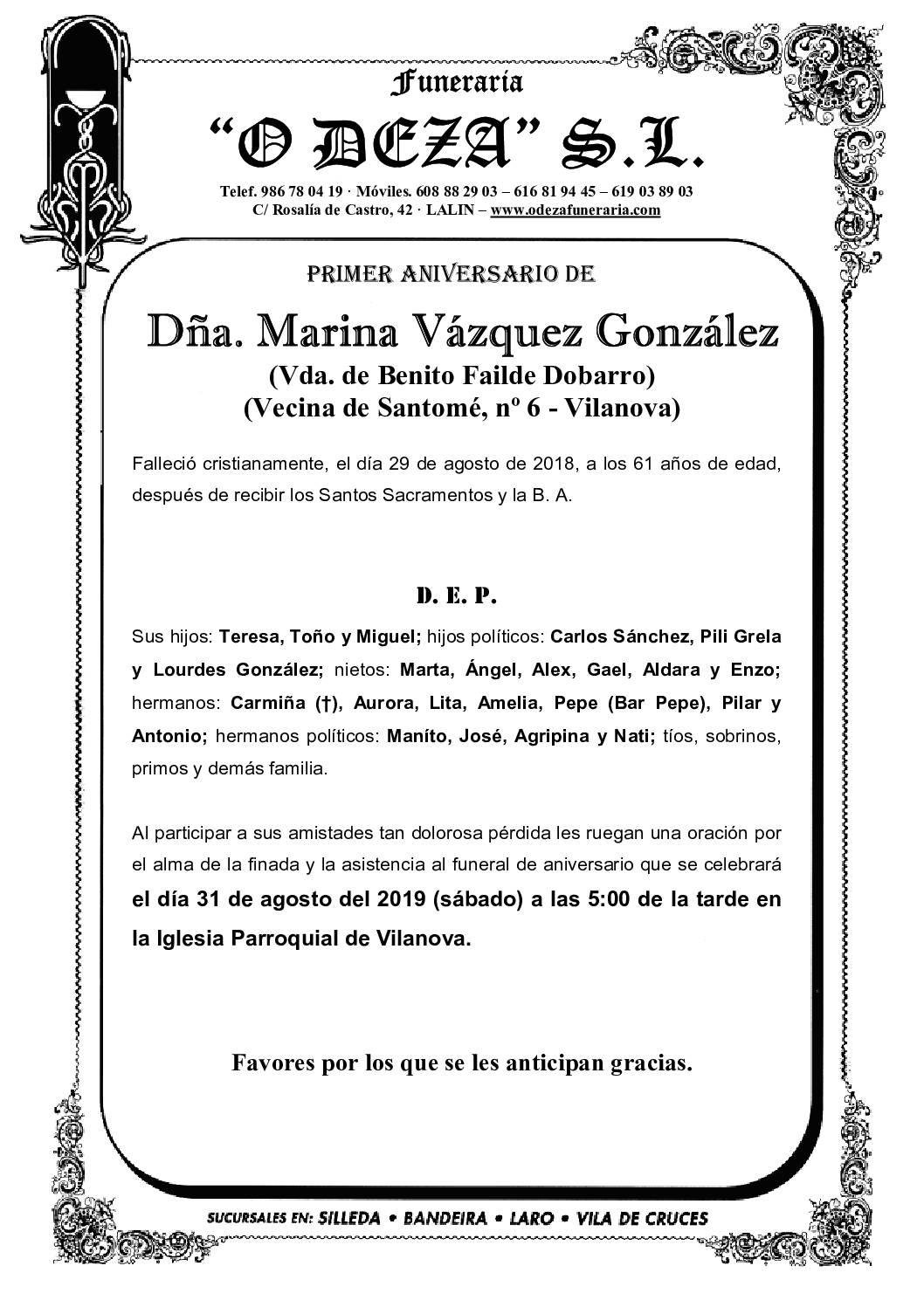 DÑA. MARINA VÁZQUEZ GONZÁLEZ