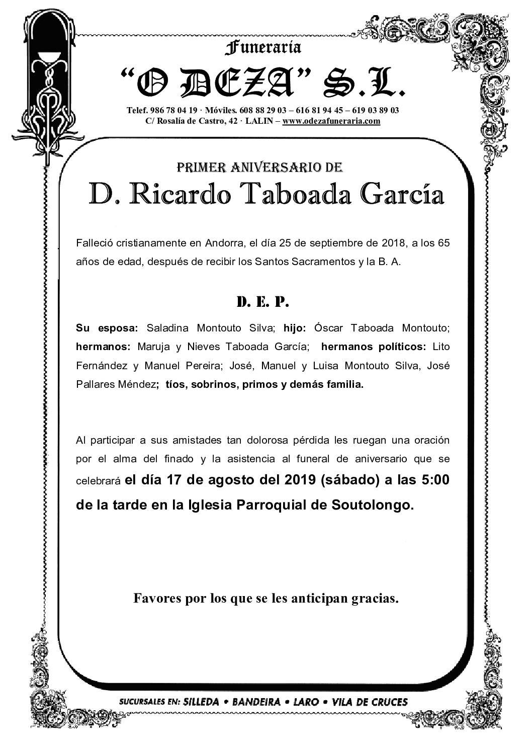 D. RICARDO TABOADA GARCÍA