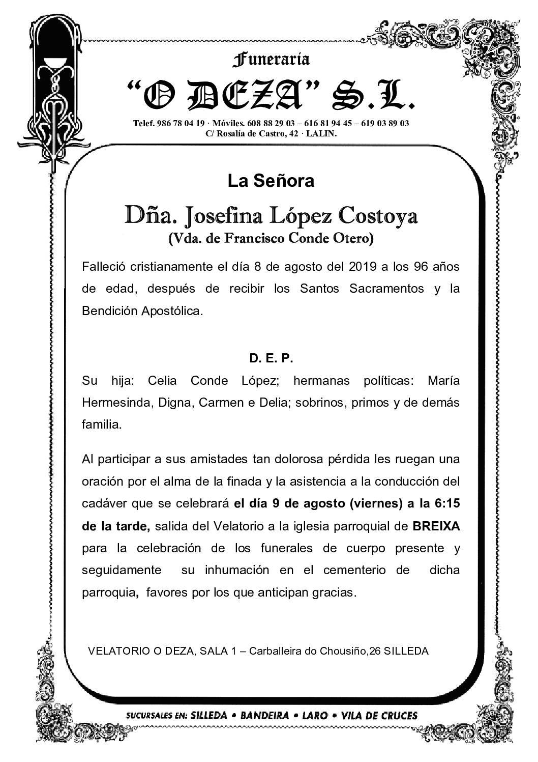 DÑA. JOSEFINA LÓPEZ COSTOYA