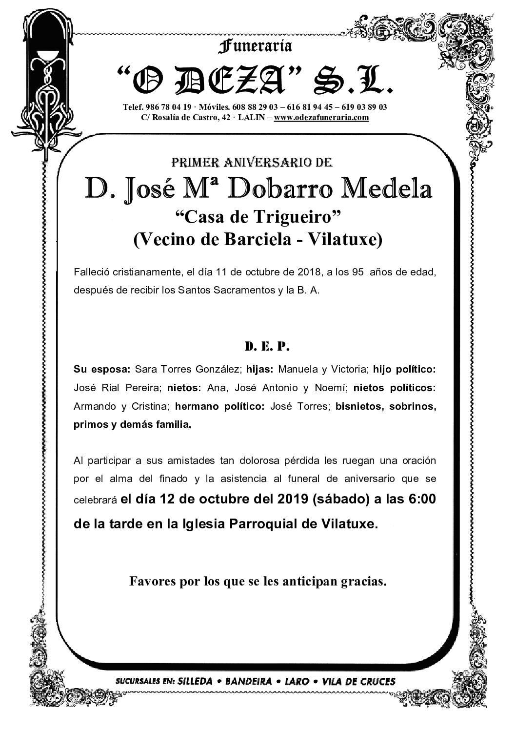 D. JOSÉ Mª DOBARRO MEDELA