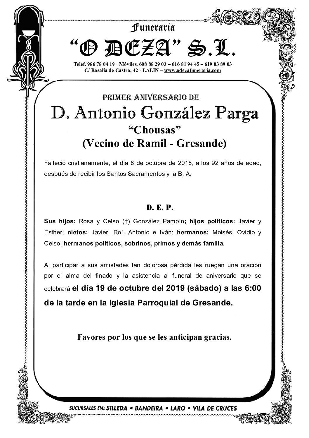 D. ANTONIO GONZÁLEZ PARGA