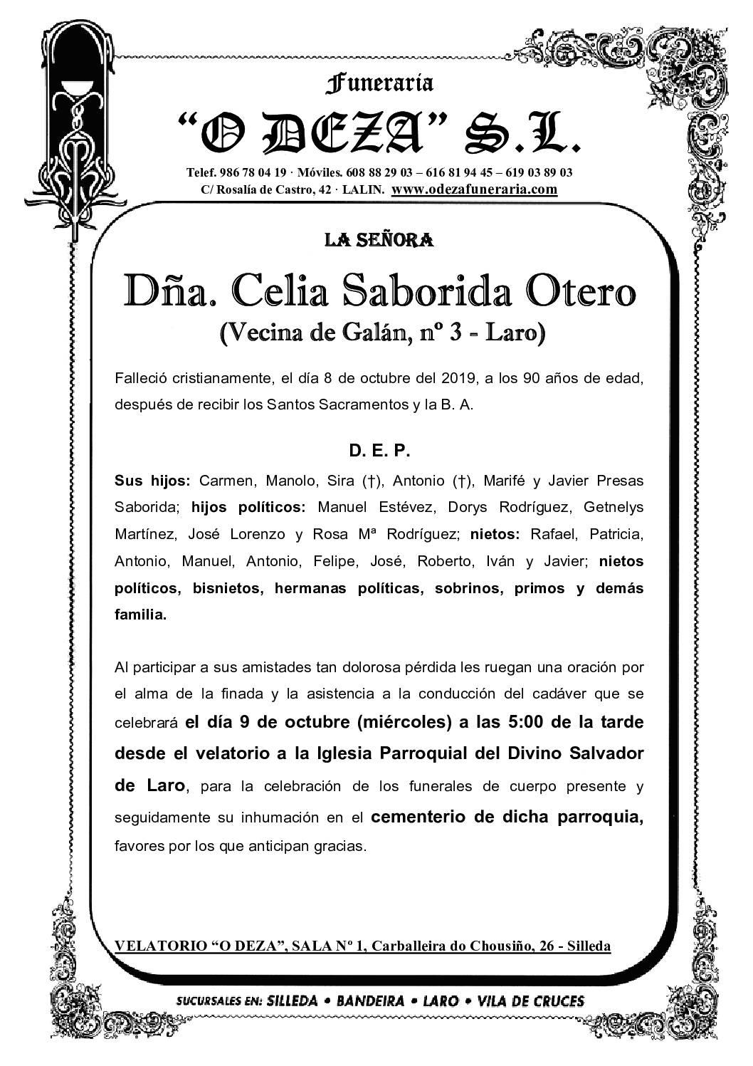 DÑA. CELIA SABORIDA OTERO