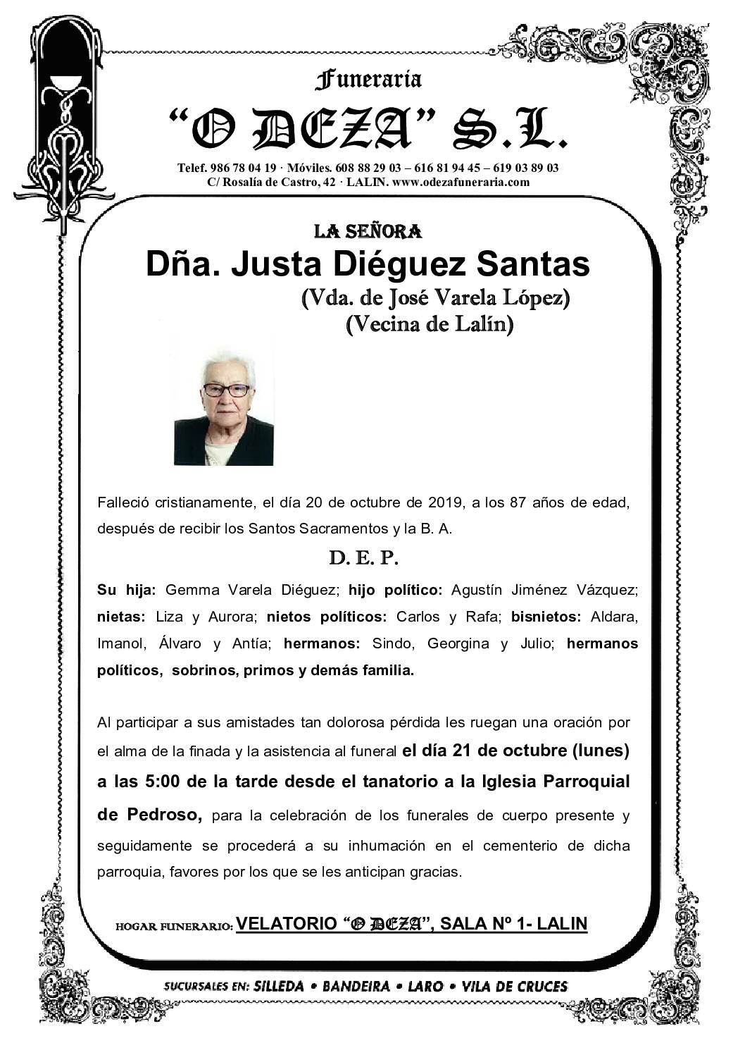 DÑA. JUSTA DIÉGUEZ SANTAS