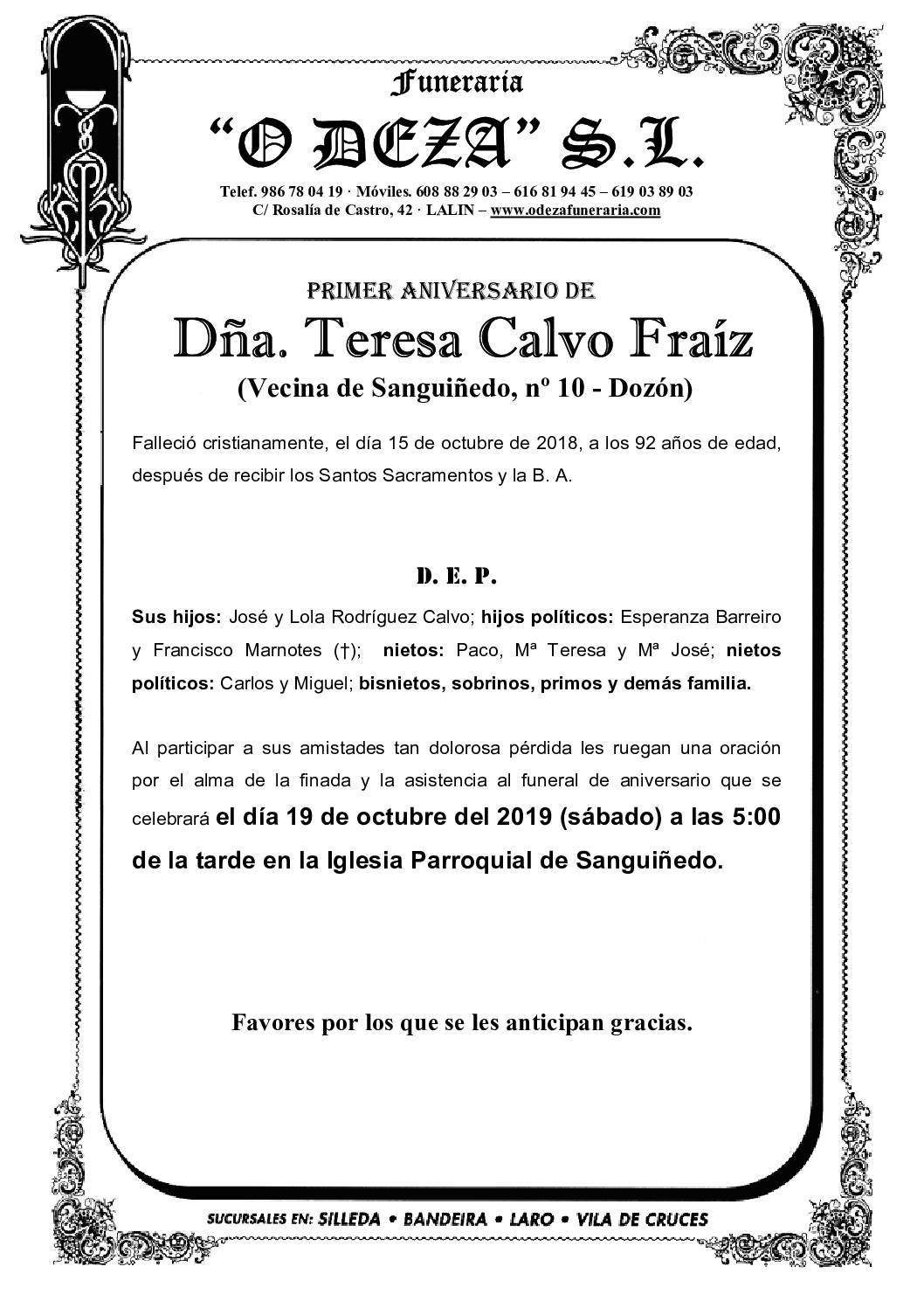 DÑA. TERESA CALVO FRAÍZ