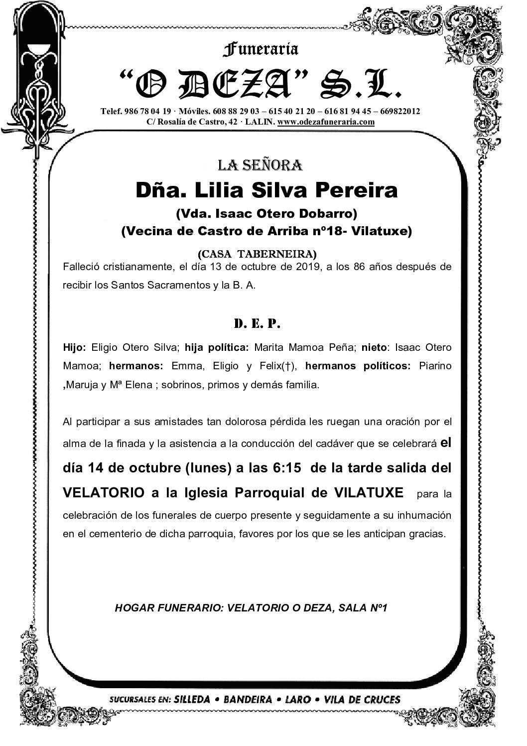 DÑA. LILIA SILVA PEREIRA