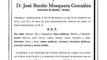 DÑA. ELISA VILARIÑO GONZÁLEZ Y D. JOSÉ BENITO MOSQUERA GONZÁLEZ
