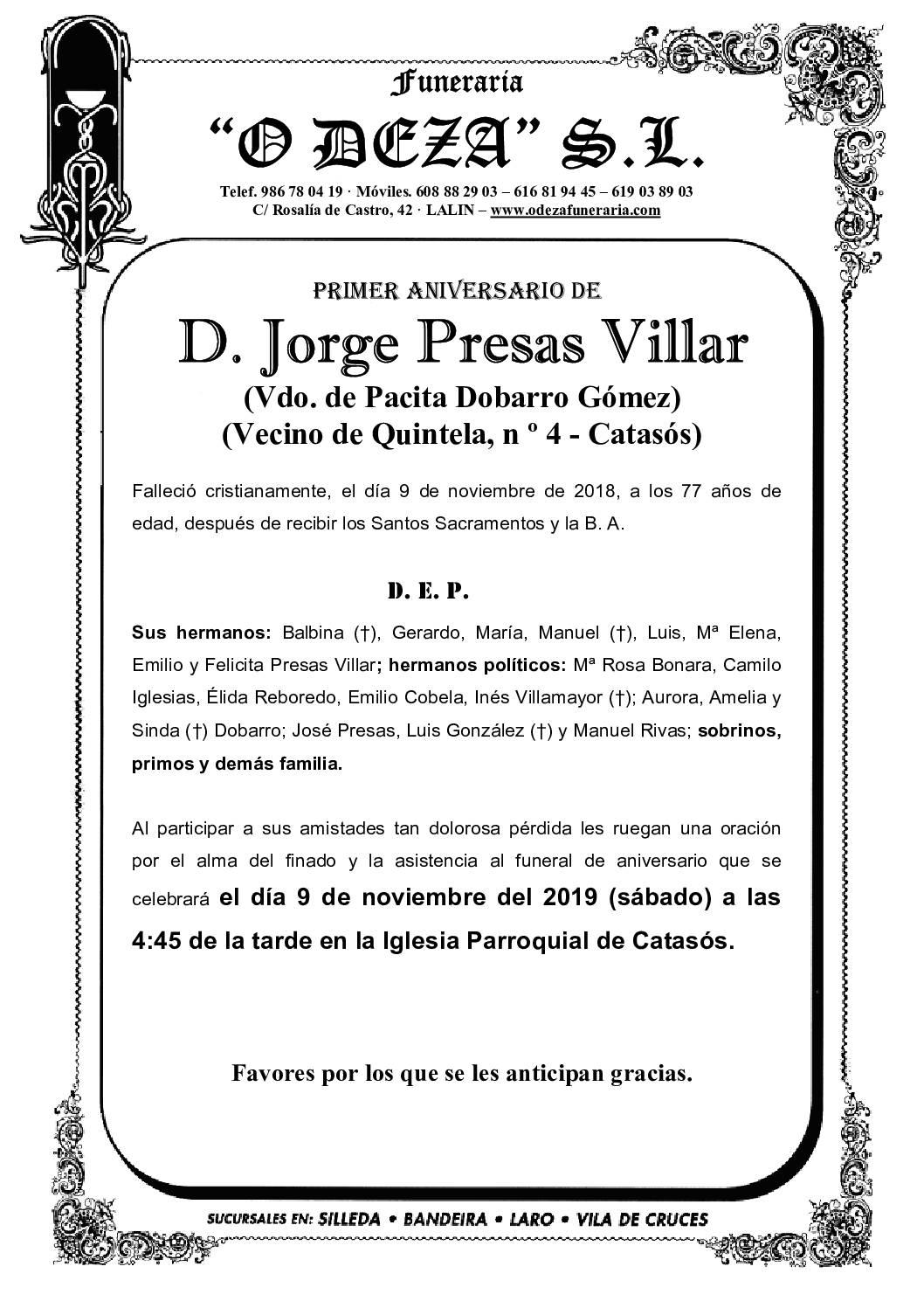 D. JORGE PRESAS VILLAR