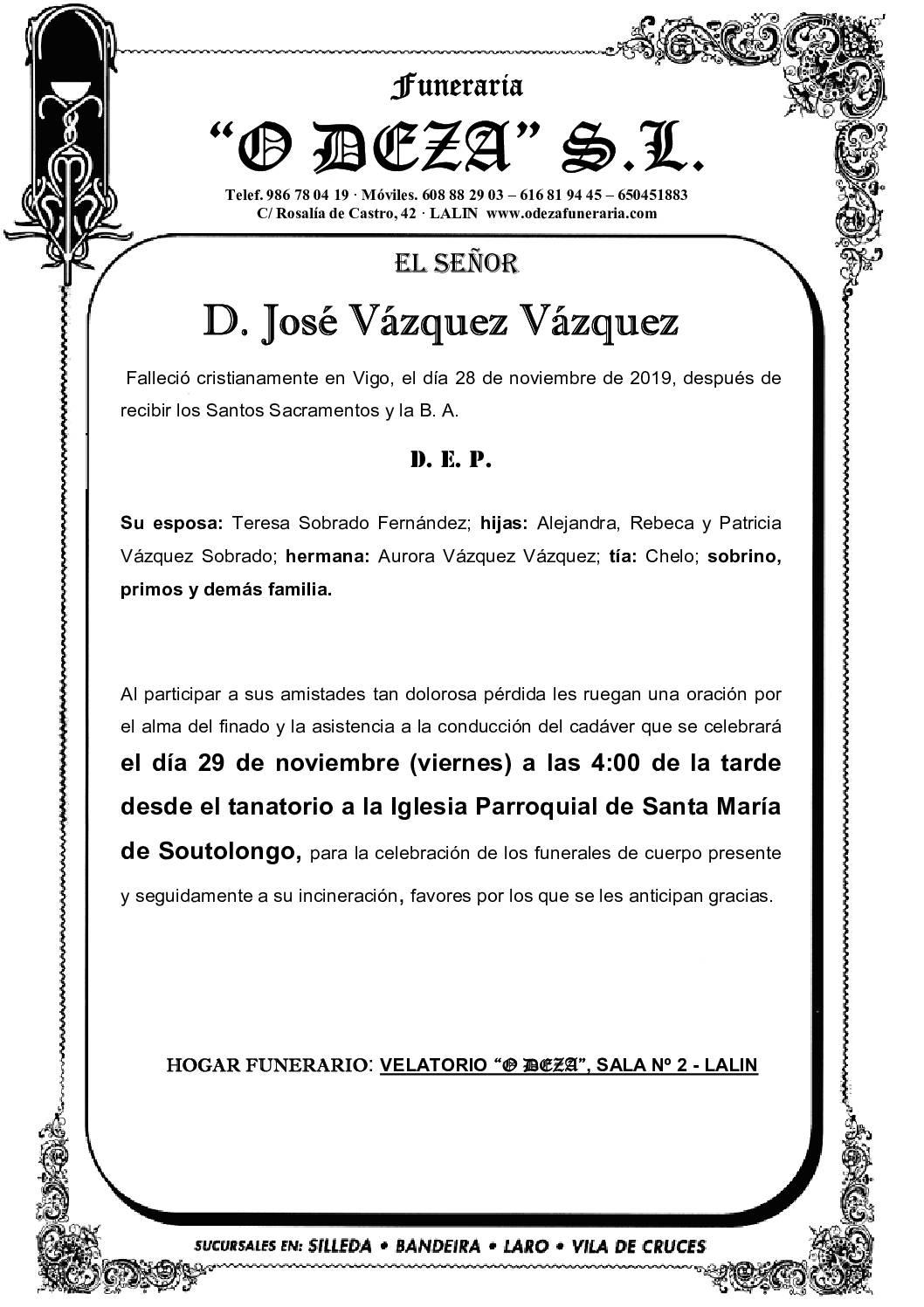 D. JOSÉ VÁZQUEZ VÁZQUEZ