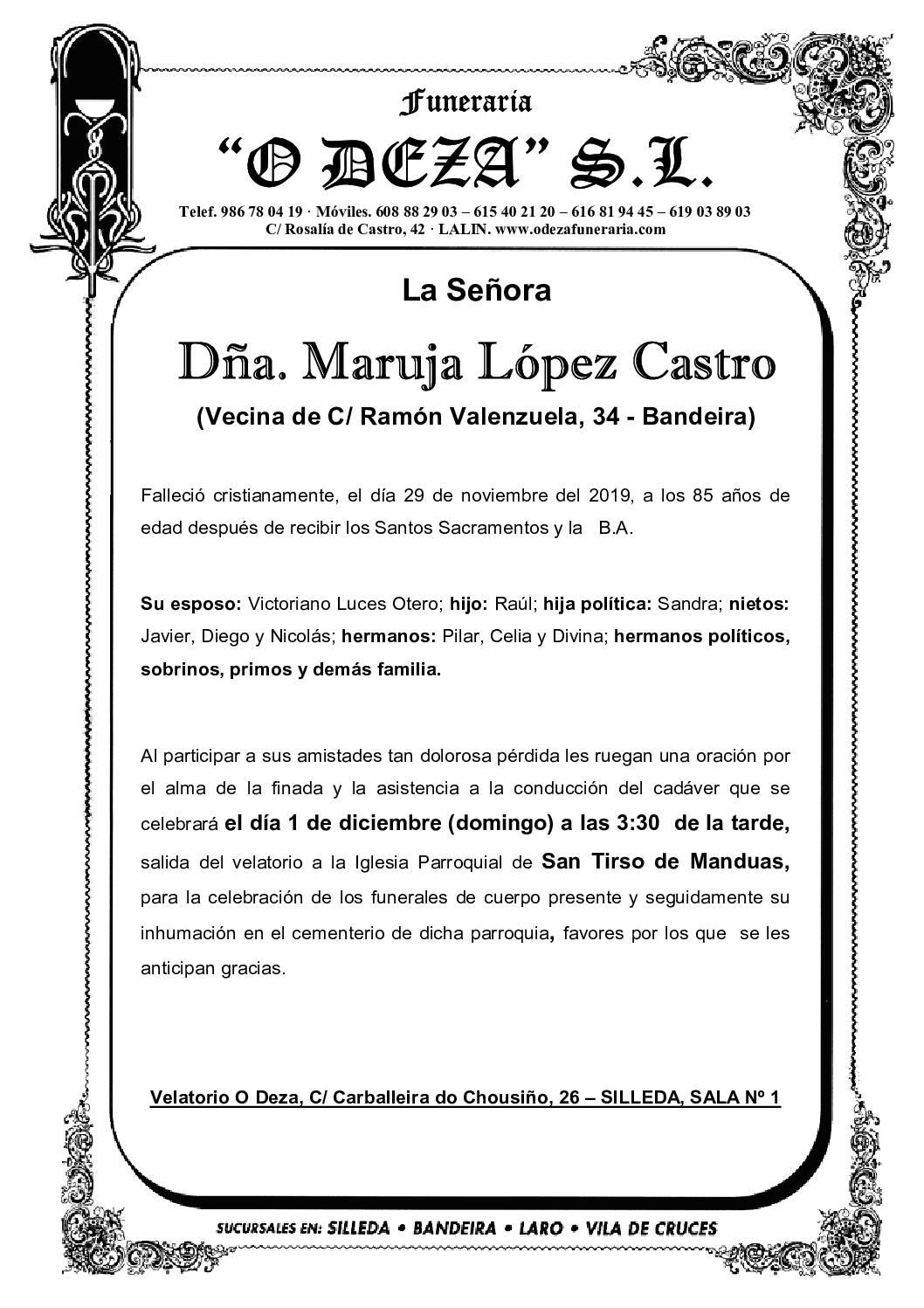 DÑA. MARUJA LÓPEZ CASTRO