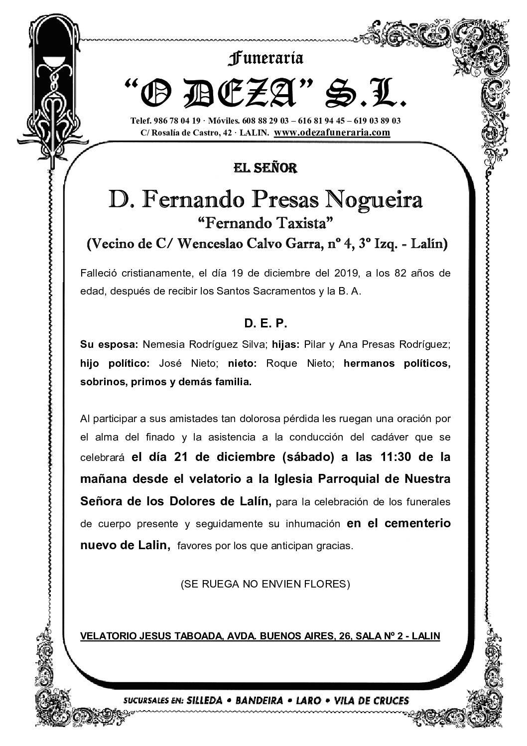 D. FERNANDO PRESAS NOGUEIRA