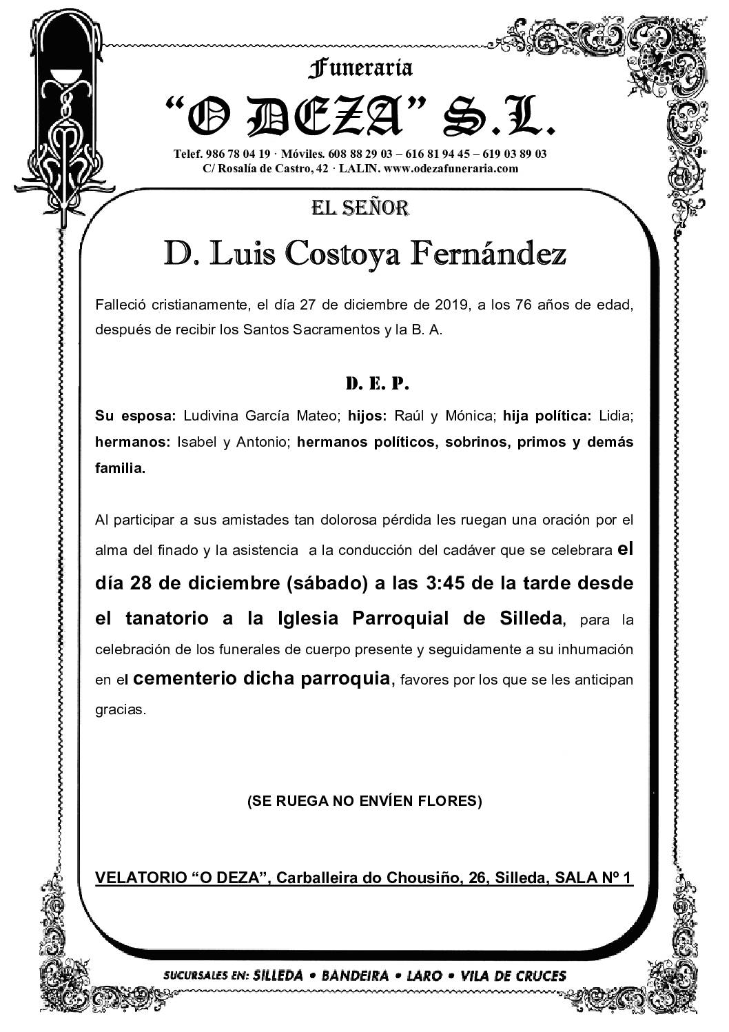 D. LUIS COSTOYA FERNÁNDEZ
