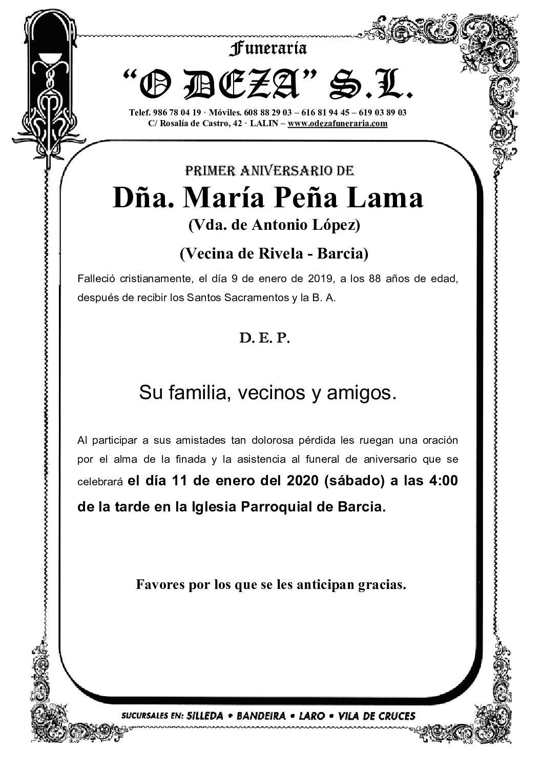 DÑA. MARÍA PEÑA LAMA