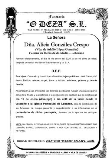 DÑA. ALICIA GONZÁLEZ CRESPO