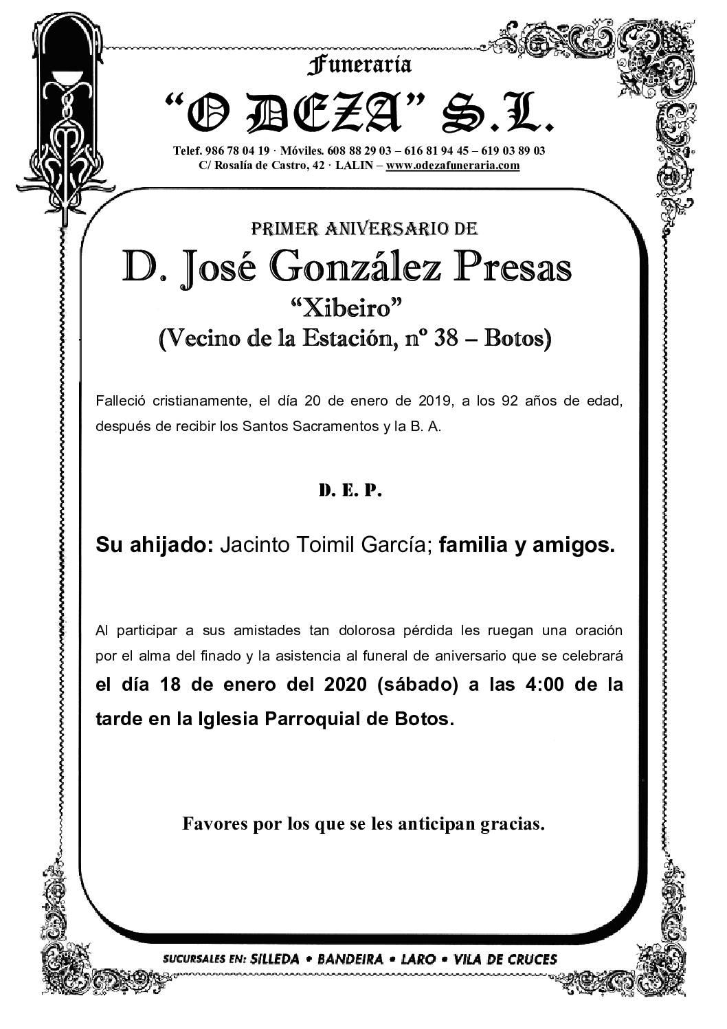 D. JOSÉ GONZÁLEZ PRESAS